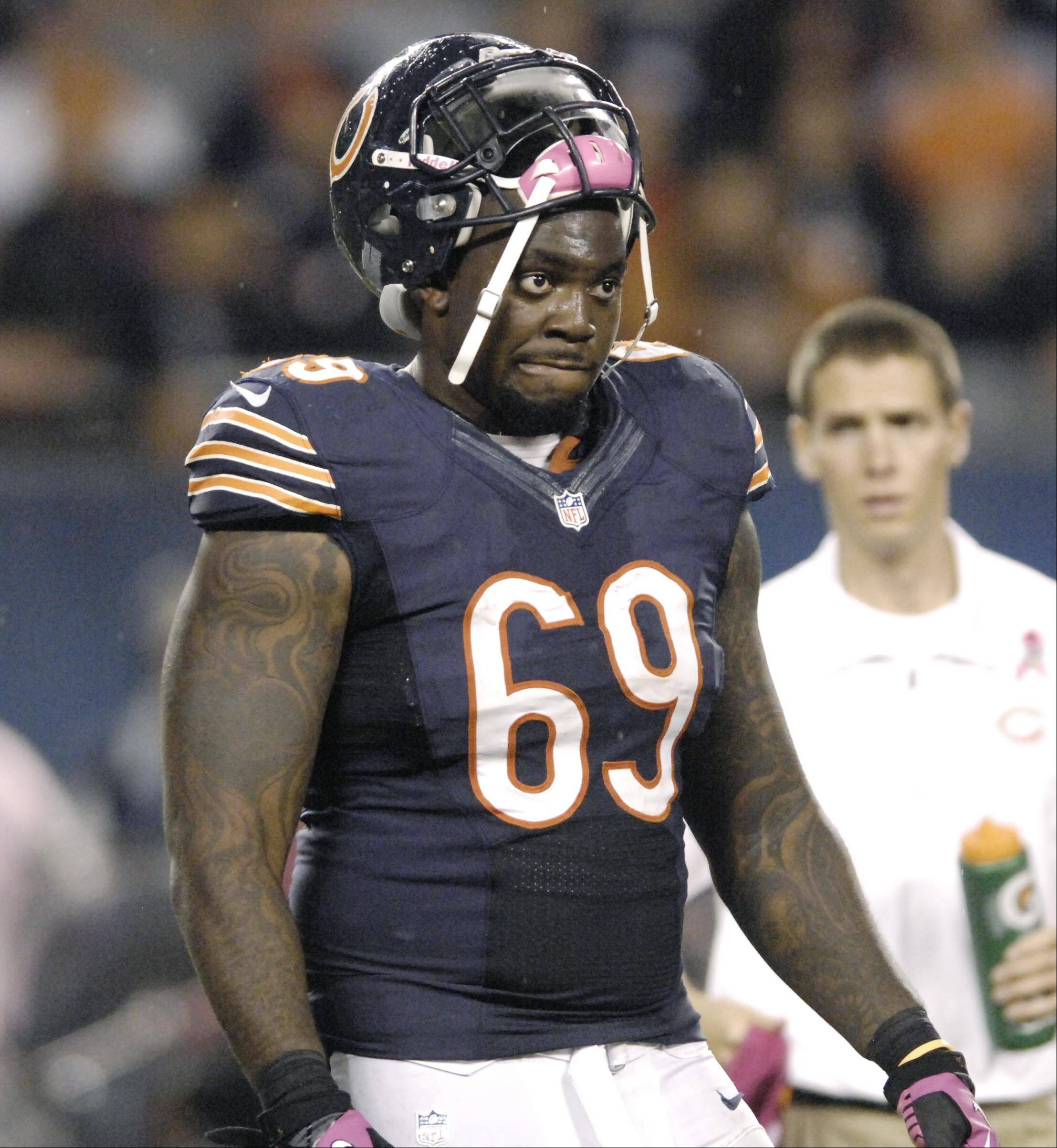 "Bears defensive tackle Henry Melton suffered a concussion in the first preseason game but said, ""I feel good now."""