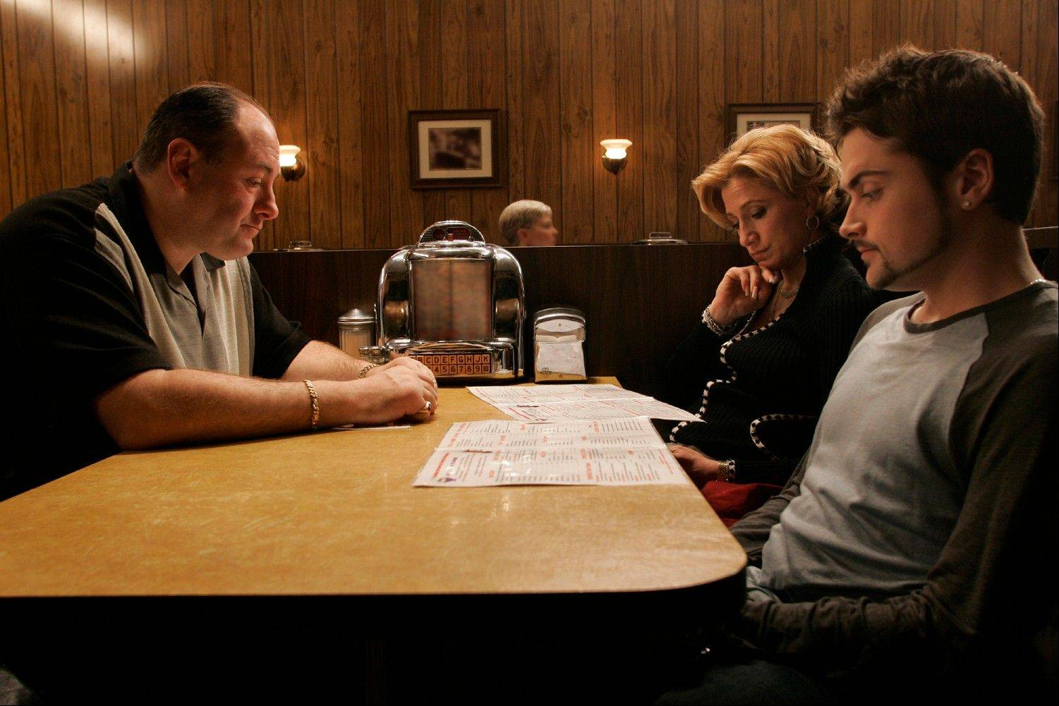 "James Gandolfini, Edie Falco and Robert Iler in a scene from the finale of ""The Sopranos."" More people are binge watching their favorite shows thanks to video streaming and On Demand services."