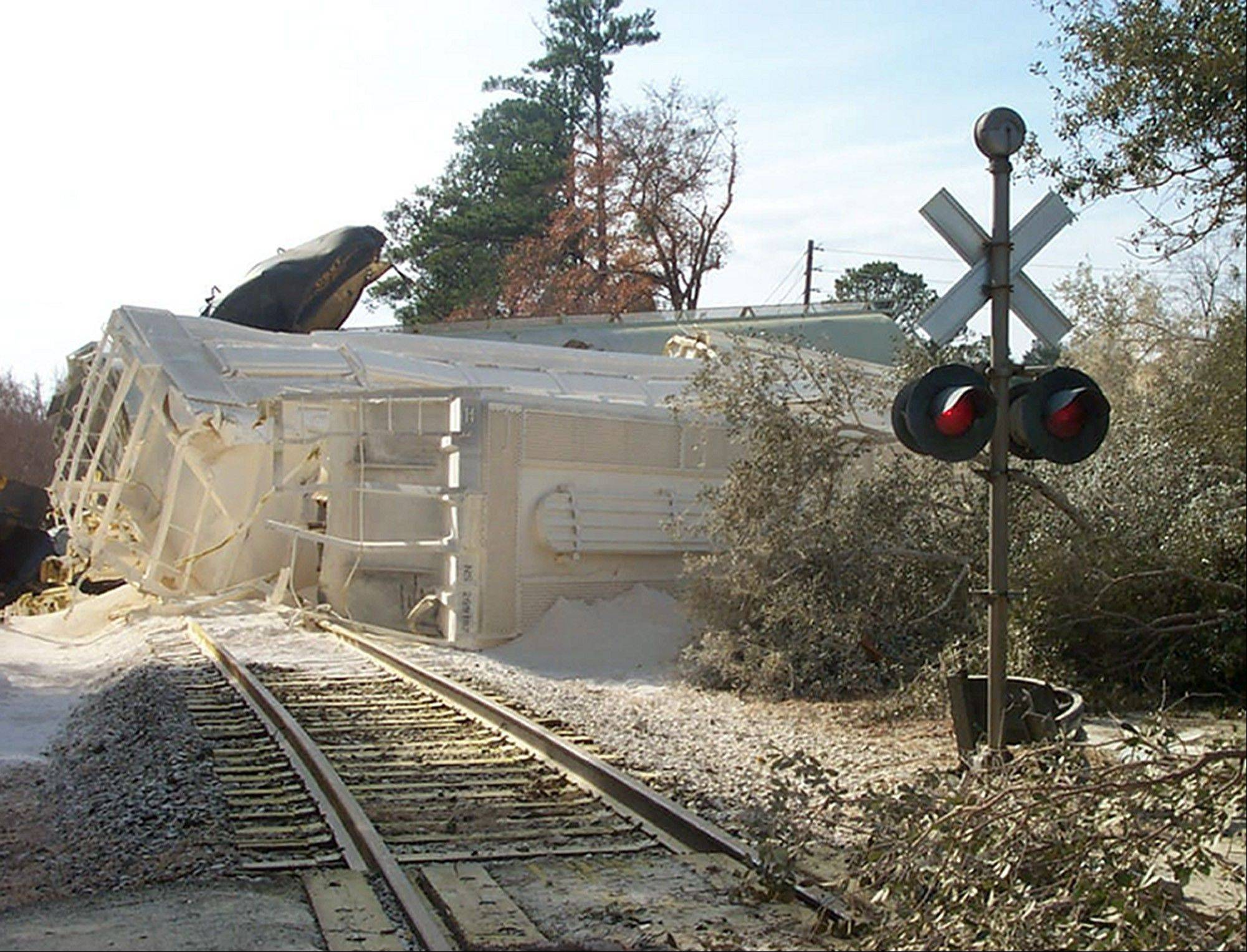 This Jan. 6, 2005, file photo, shows a train derailment where toxic chlorine gas leaked, killing nine people, in Graniteville, S.C.