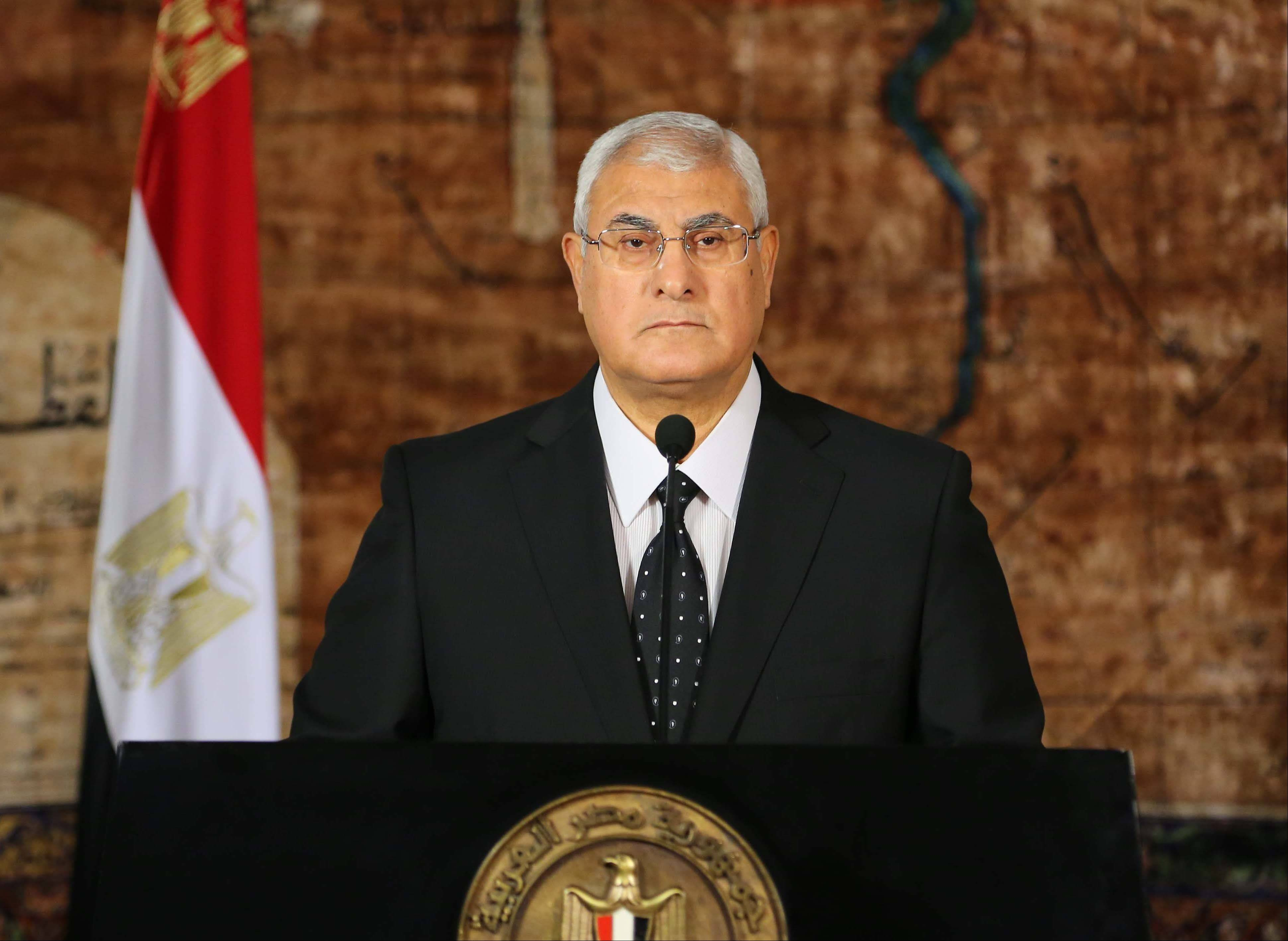 Egypt's interim President Adly Mansour, seen here in a photo from July, on Tuesday defended the military's ouster of President Mohammed Morsi, saying he failed to deliver on campaign promises and was forced out by the will of people who elected him and not by a coup.