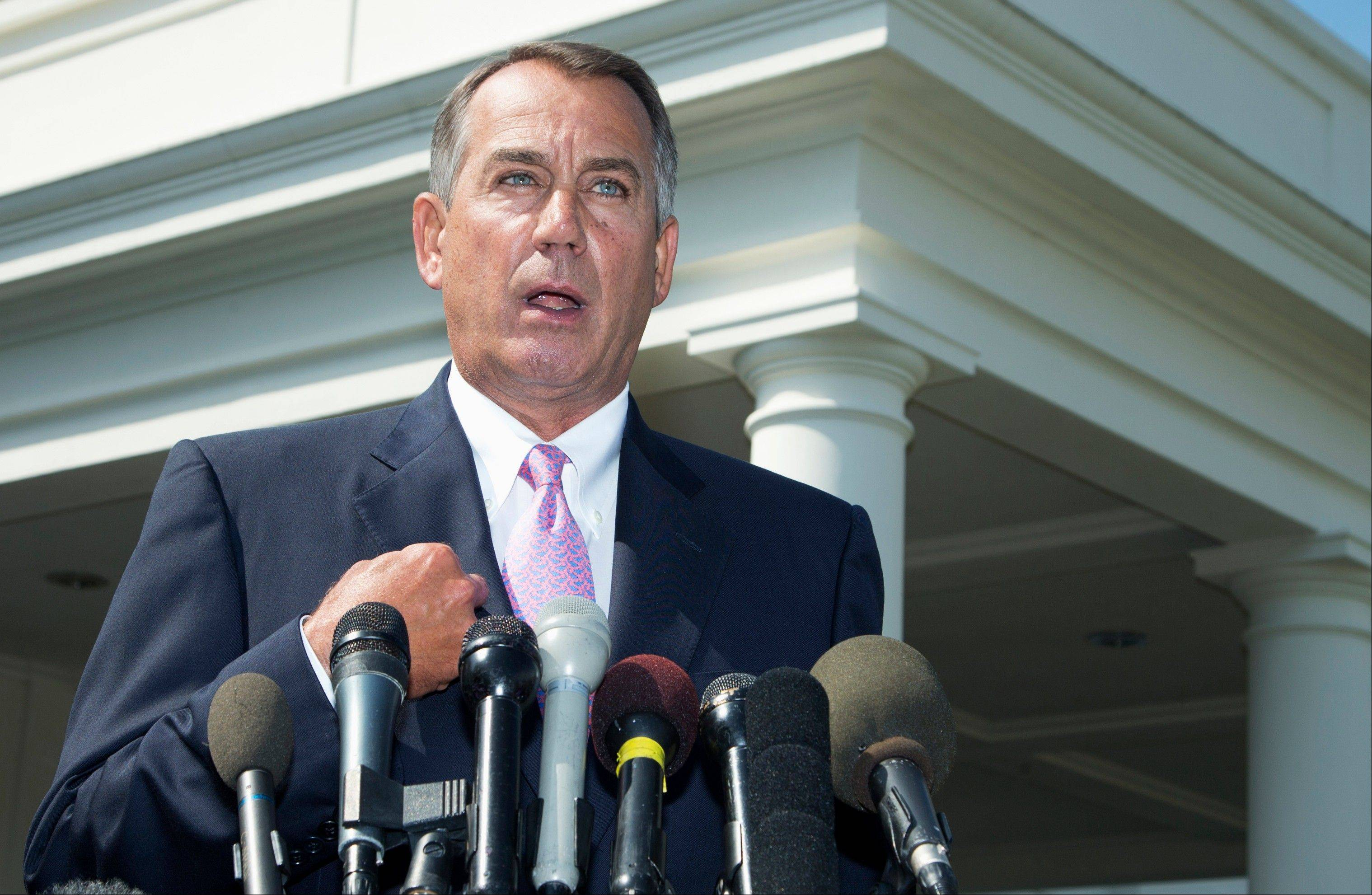 House Speaker John Boehner announced after meeting with President Barack Obama at the White House on Tuesday that he will support Obama's call for the U.S. to take action against Syria and said his Republican colleagues should support the president, too.