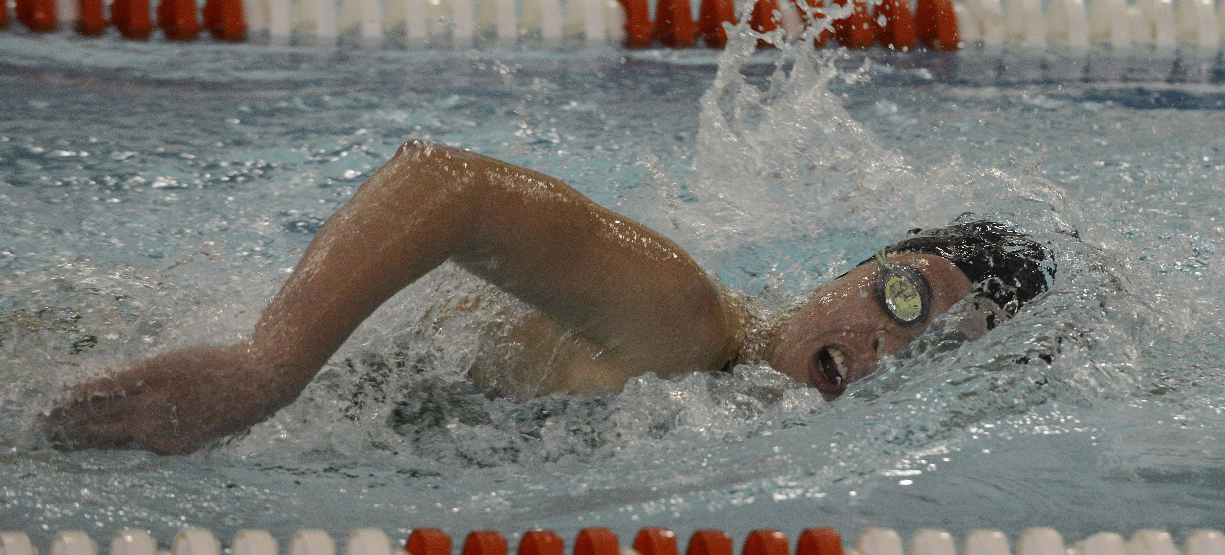 Fremd's Julia Portmann heads for a victory in the 200-yard freestyle during Tuesday's meet with Hersey at Olympic Pool in Arlington Heights.