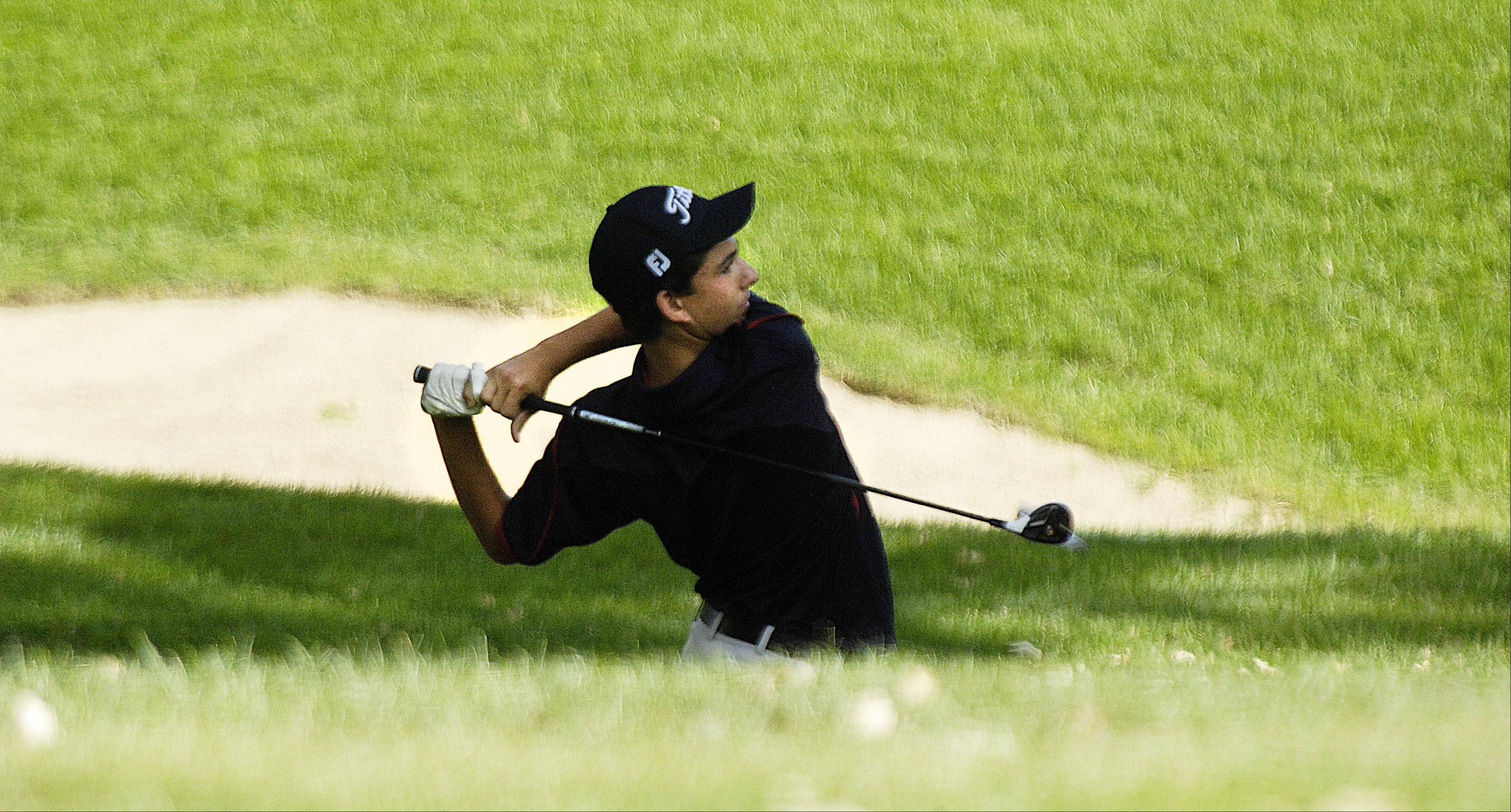 Deven Meredith of South Elgin drives from the fairway Tuesday at the Elgin Country Club boys golf invitational.