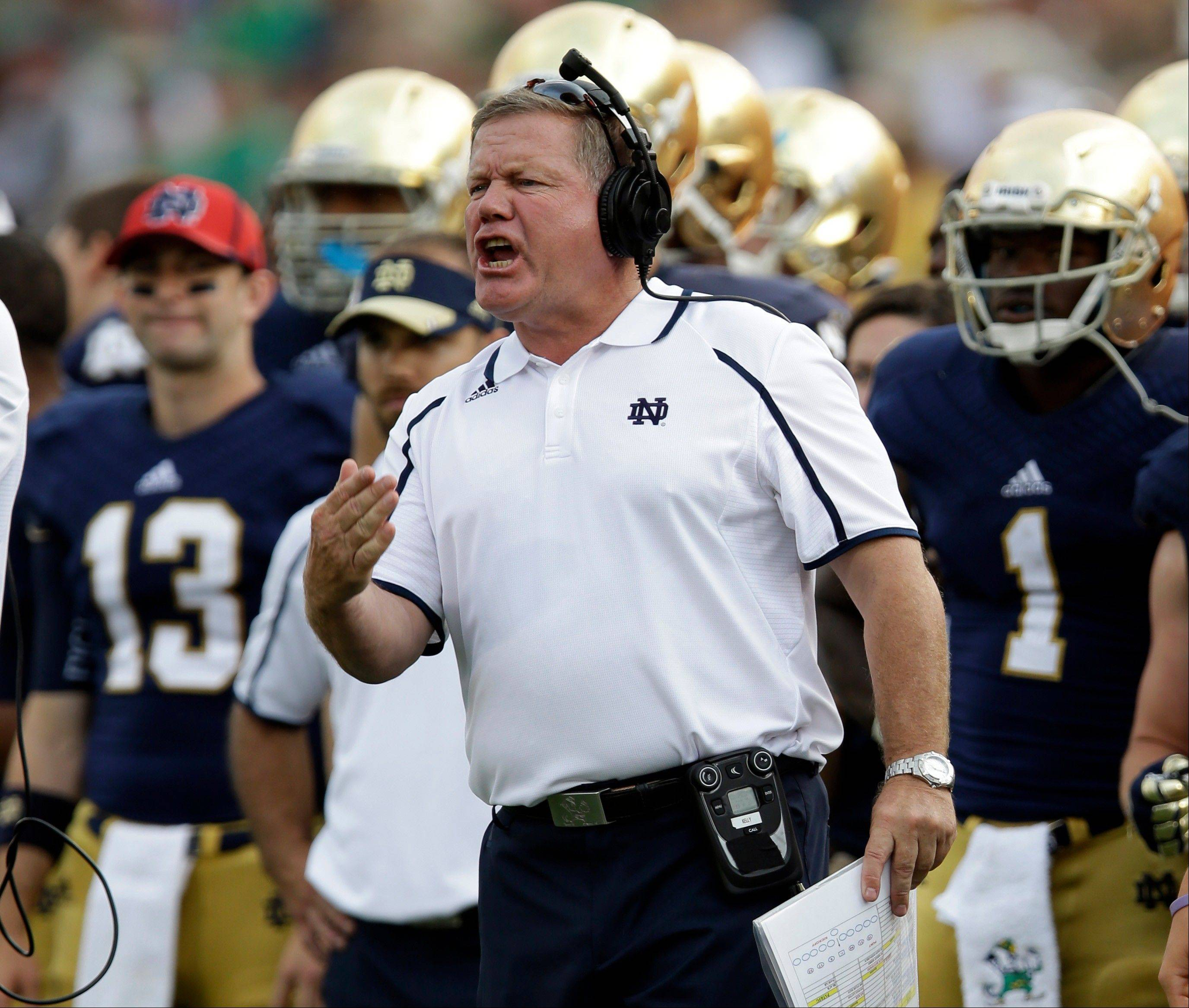 Notre Dame head coach Brian Kelly yells to his team Saturday during the second half against Temple in South Bend, Ind. Notre Dame defeated Temple 28-6.