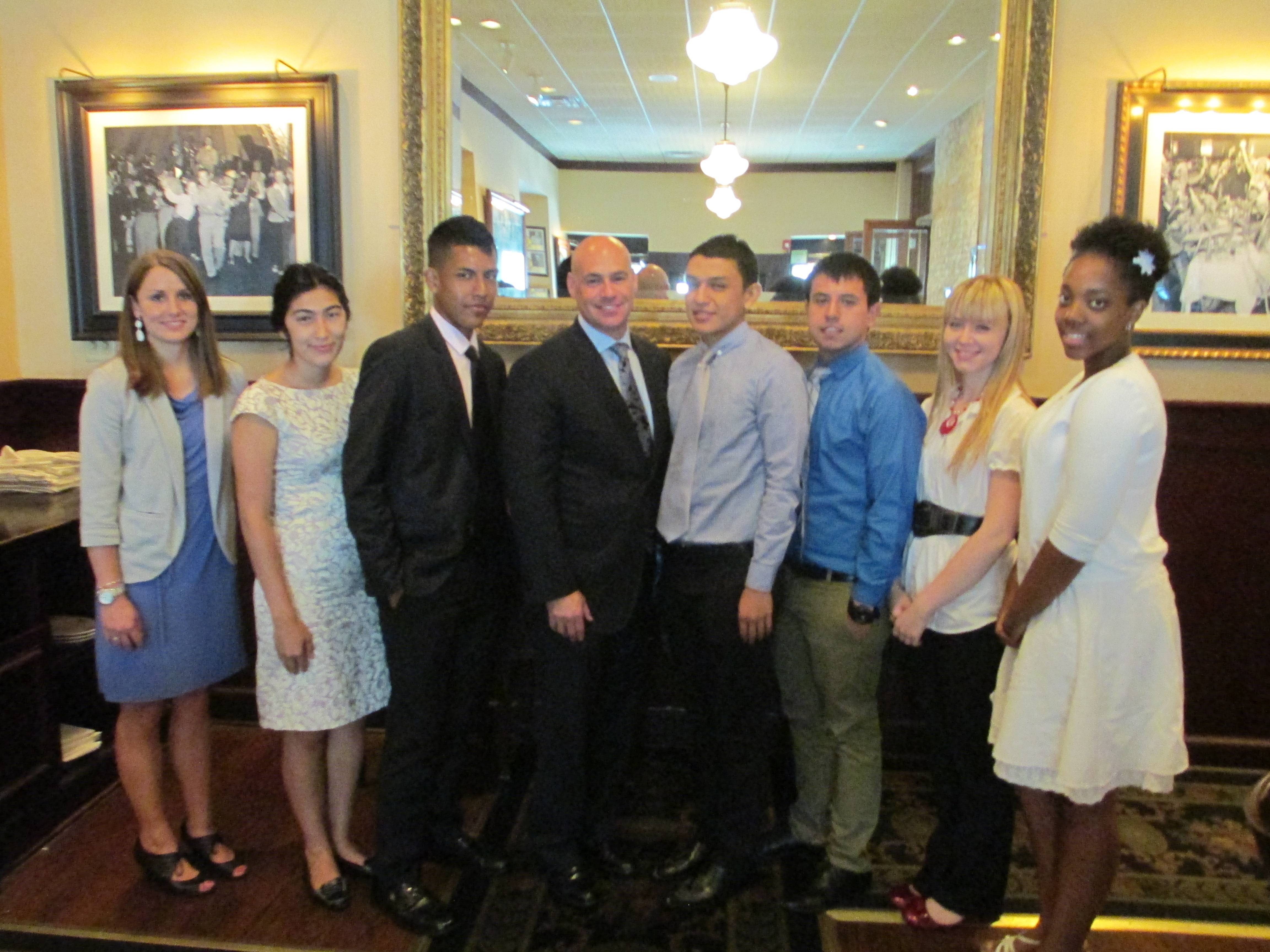 Group of scolarship awardees with Charles Serlin and Leslie VanderMeulen, Car Outlet at recognition luncheon on August 15, 2013