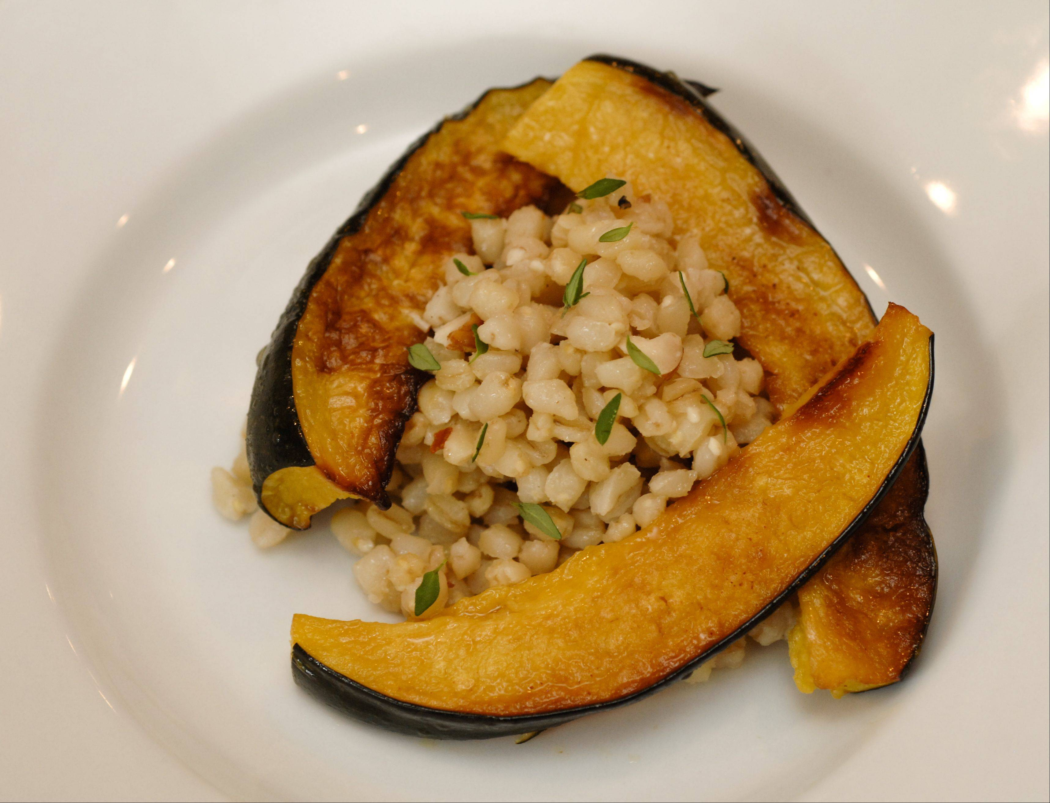 Roasted Acorn Squash, Wheat Berry, with Hazelnut Vinaigrette