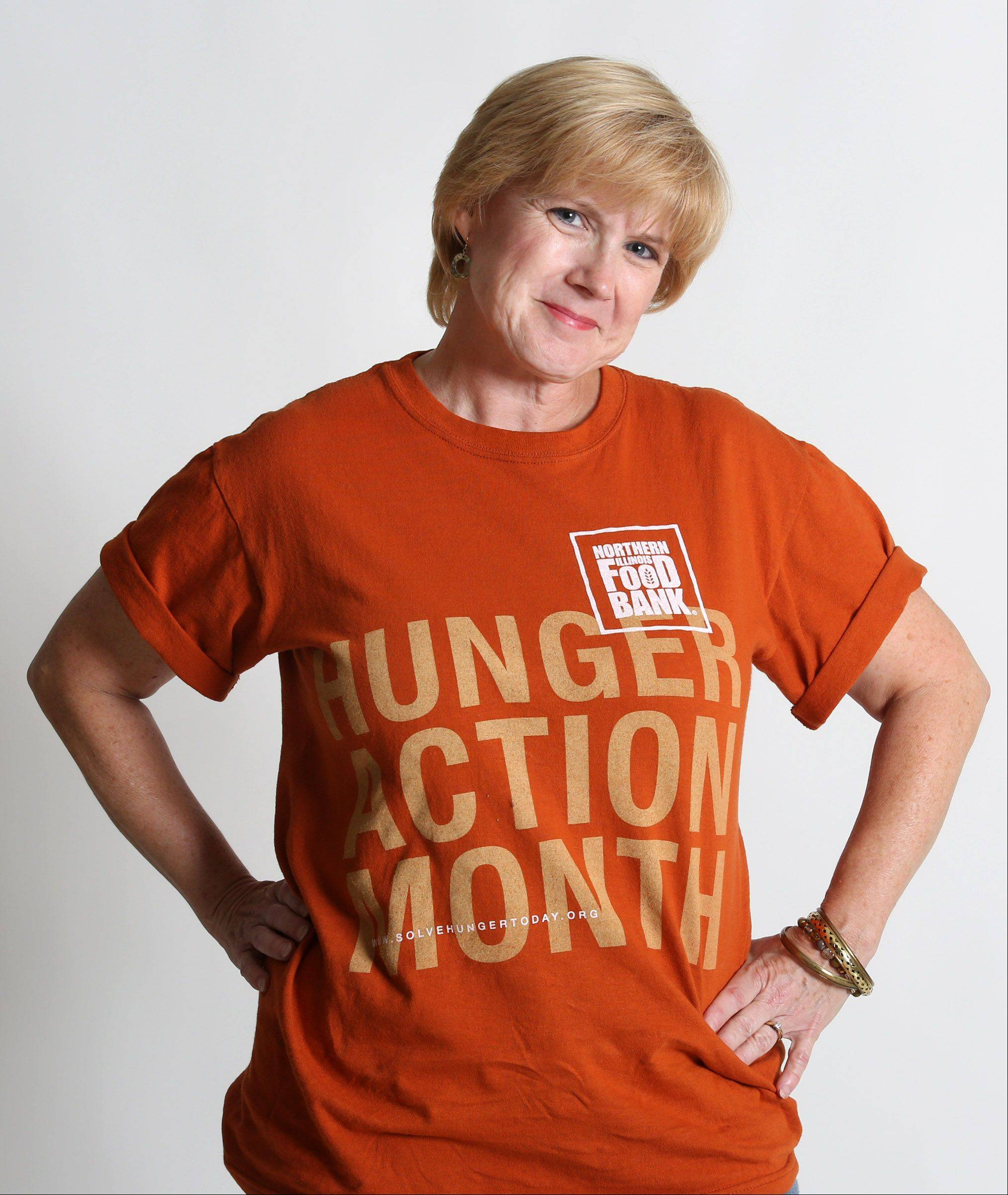 Food Editor Deborah Pankey sports her Hunger Action Month T-shirt for the Northern Illinois Food Bank's Go Orange hunger awareness initiative.