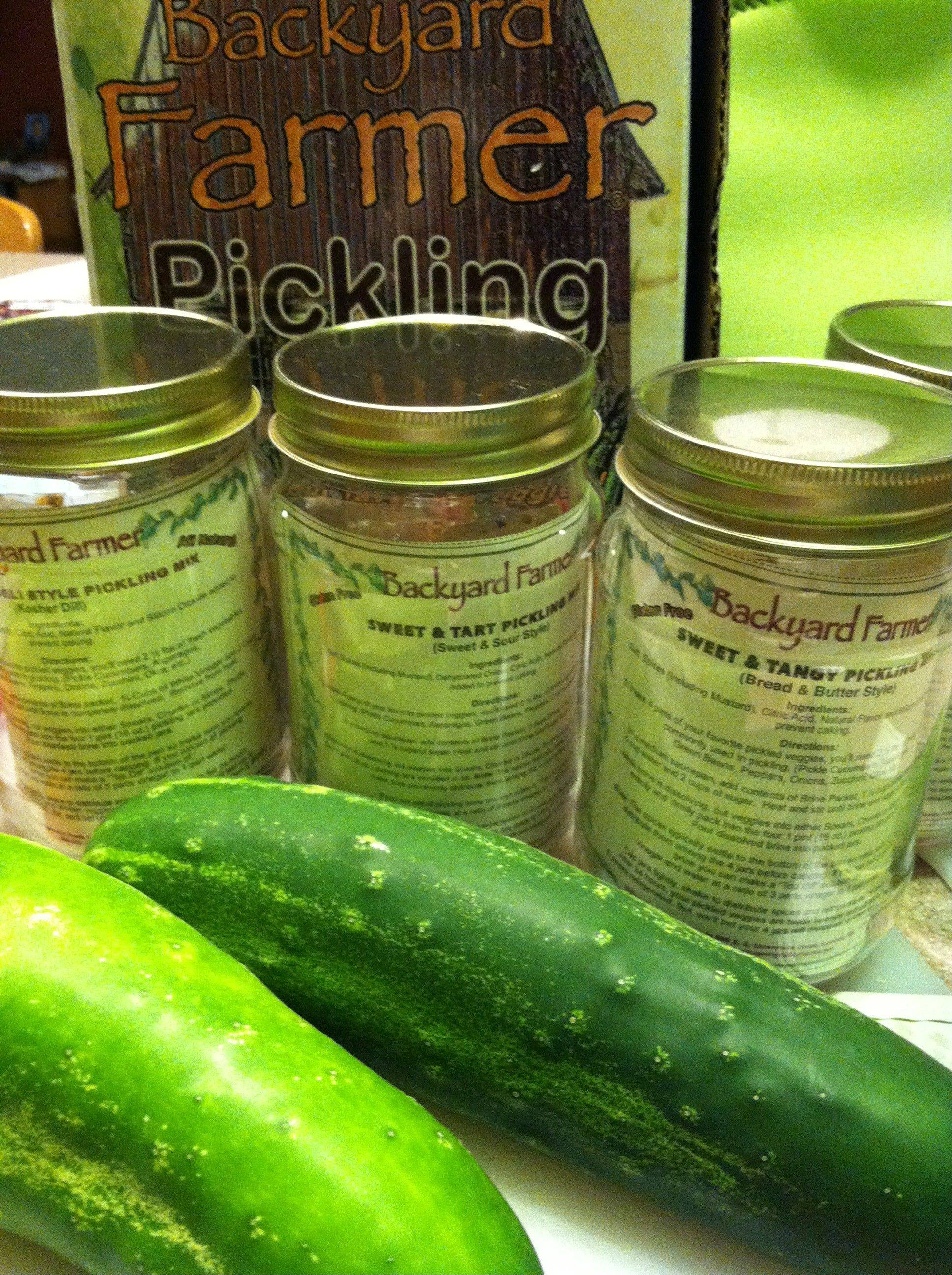The Backyard Farmer Pickling Kit contains four reusable jars and enough brining spice to make 16 pints of pickles.