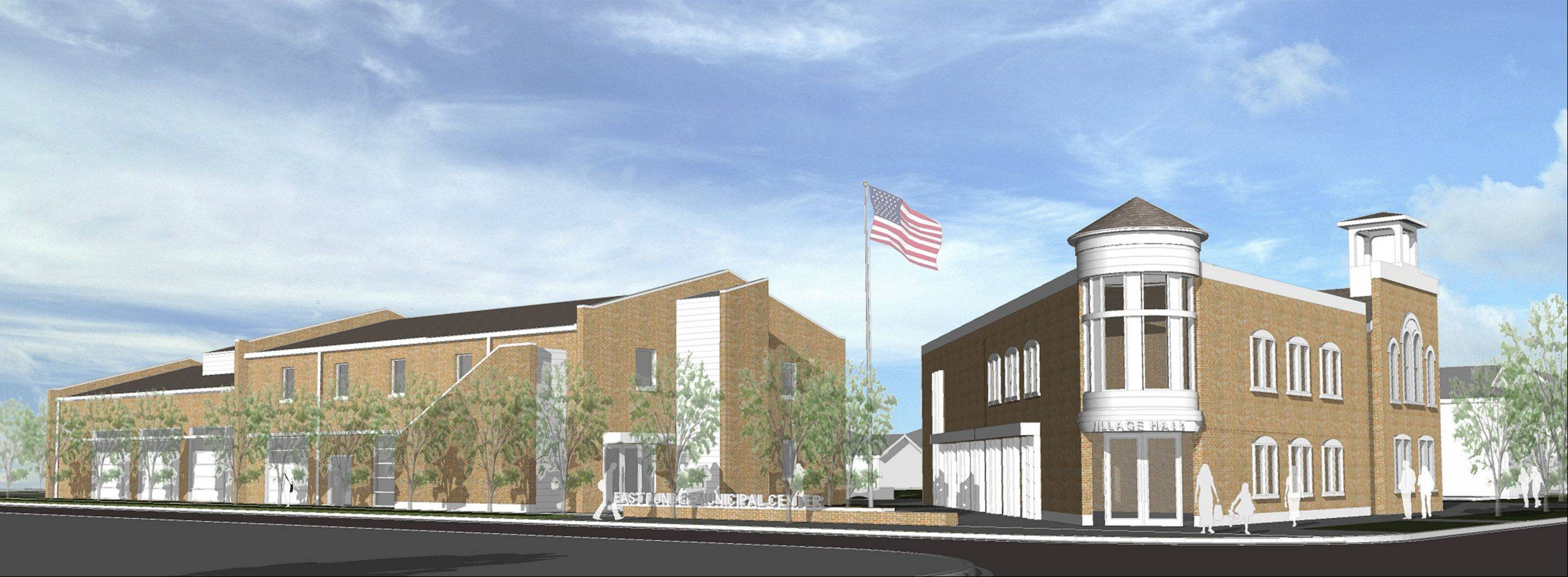 A rendering of East Dundee's police department and village hall renovations.