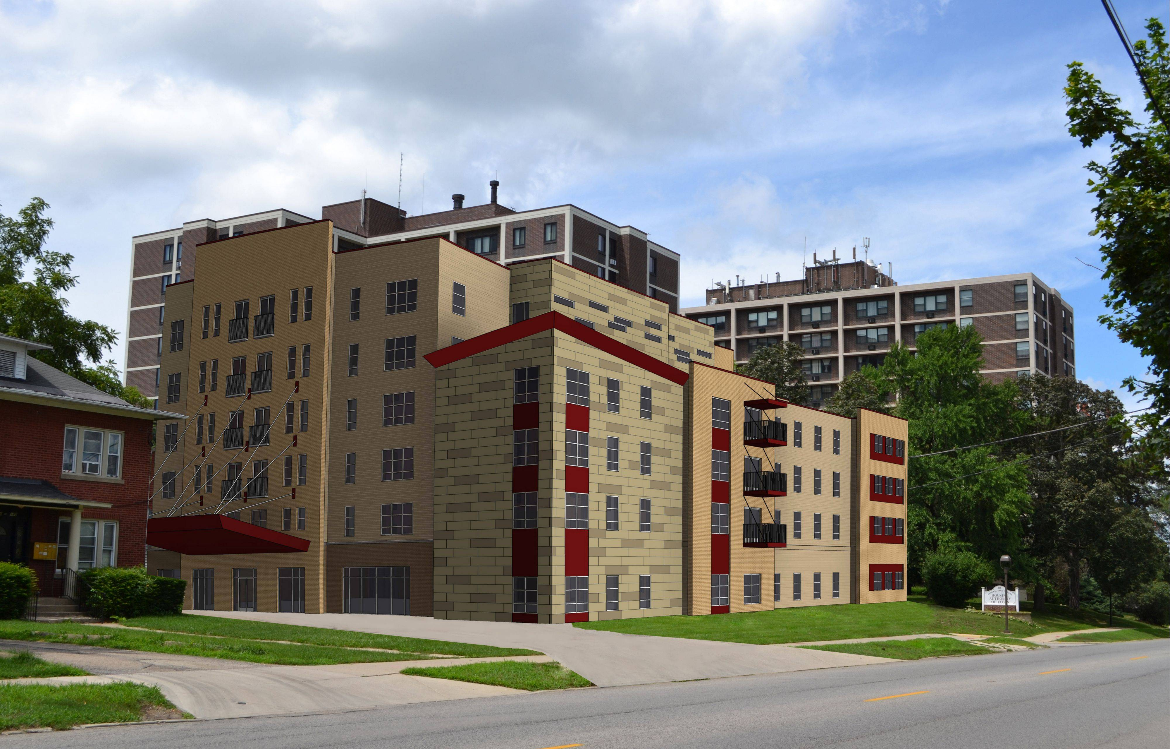 This rendering by Excel Engineering shows a proposed six-story building that the Housing Authority of Elgin wants to build at 132 S. State St. After getting feedback about the initial design, the building's color scheme has been toned down.