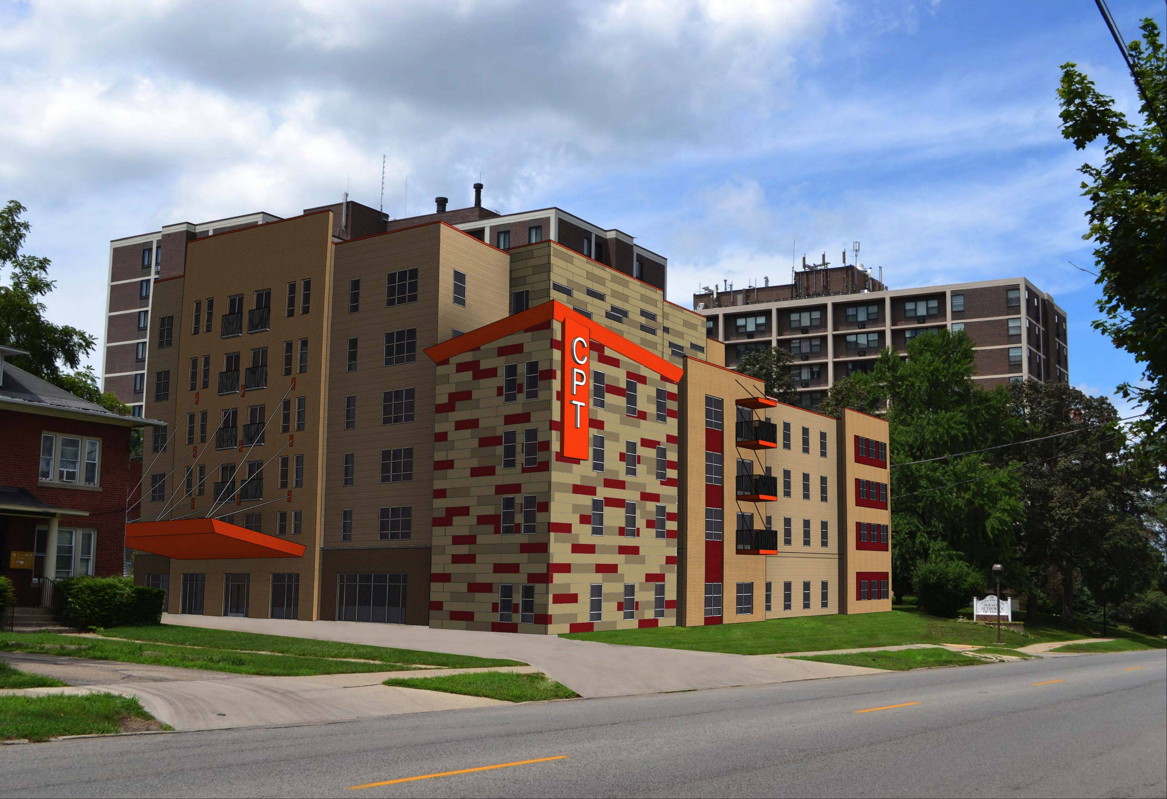 Initially, the new L-shaped building was designed with a bolder, reddish color scheme, but it was toned down with earth hues after negative feedback.