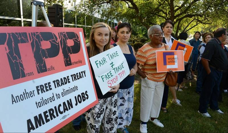 Suburban workers rally against trade agreement