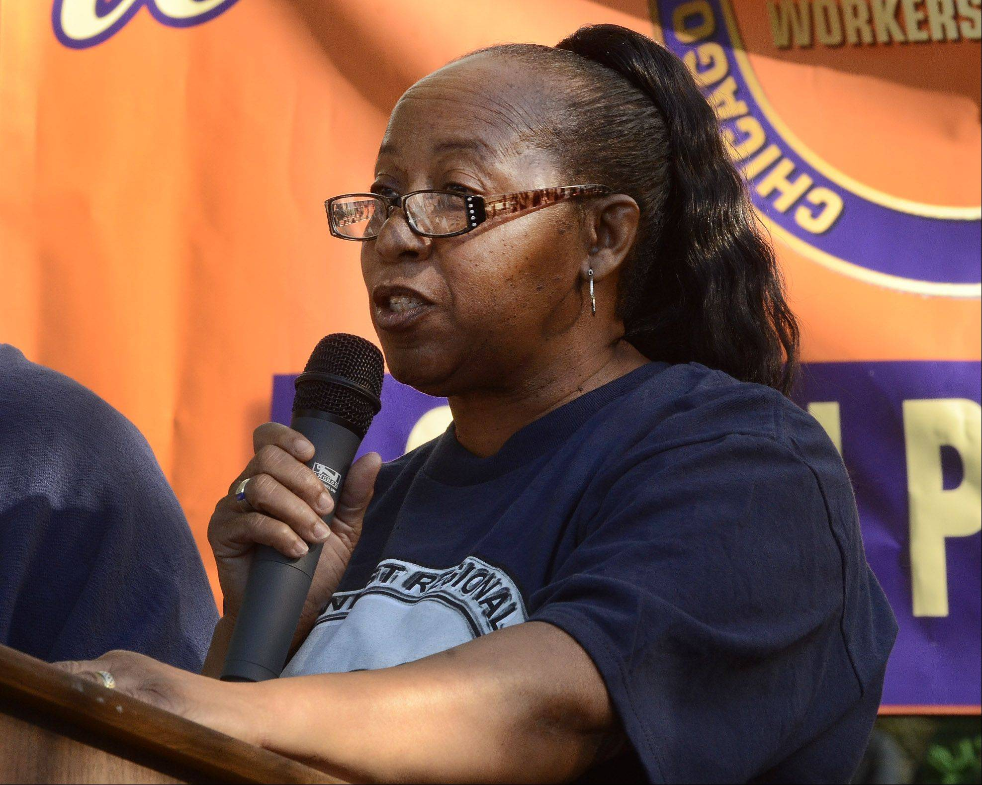 Ruby Sims, factory worker and president of Local 39C, Workers United, SEIU, speaks to a rally in front of Hart Schaffner & Marx factory in Des Plaines, where workers protested the proposed Trans-Pacific Partnership free trade agreement they say would impact textile and apparel manufacturing jobs.