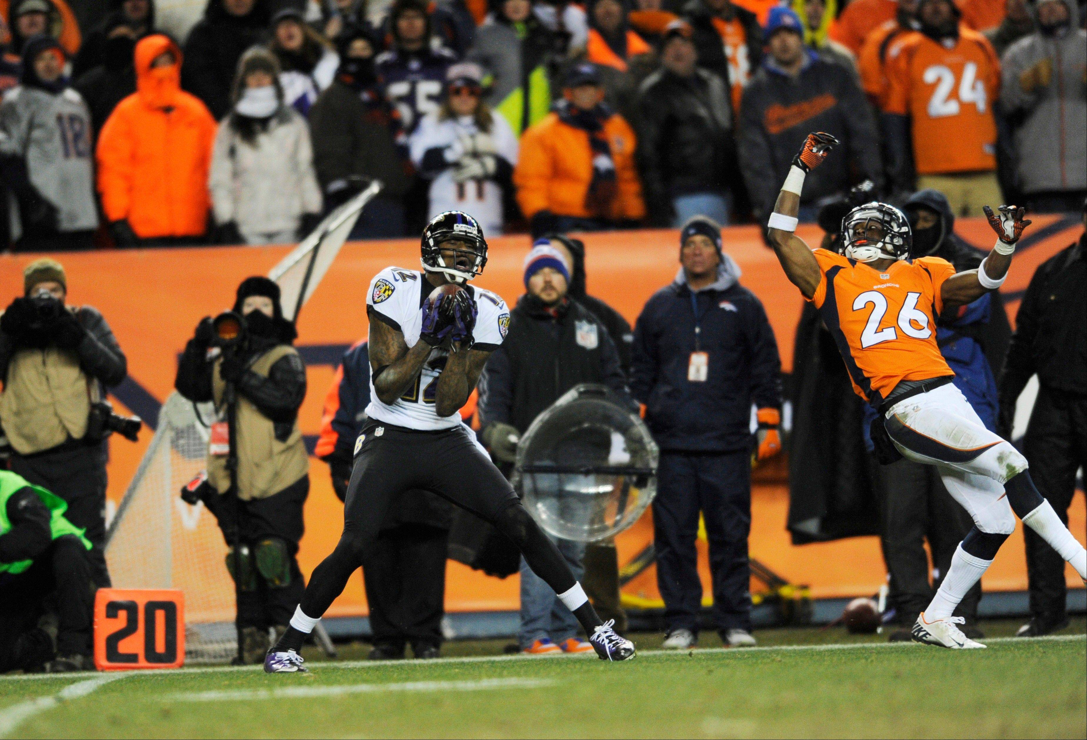 When they last met on Jan. 12, 2013, Baltimore Ravens wide receiver Jacoby Jones, caught a pass for a touchdown working against Rahim Moore in the AFC divisional playoff game.