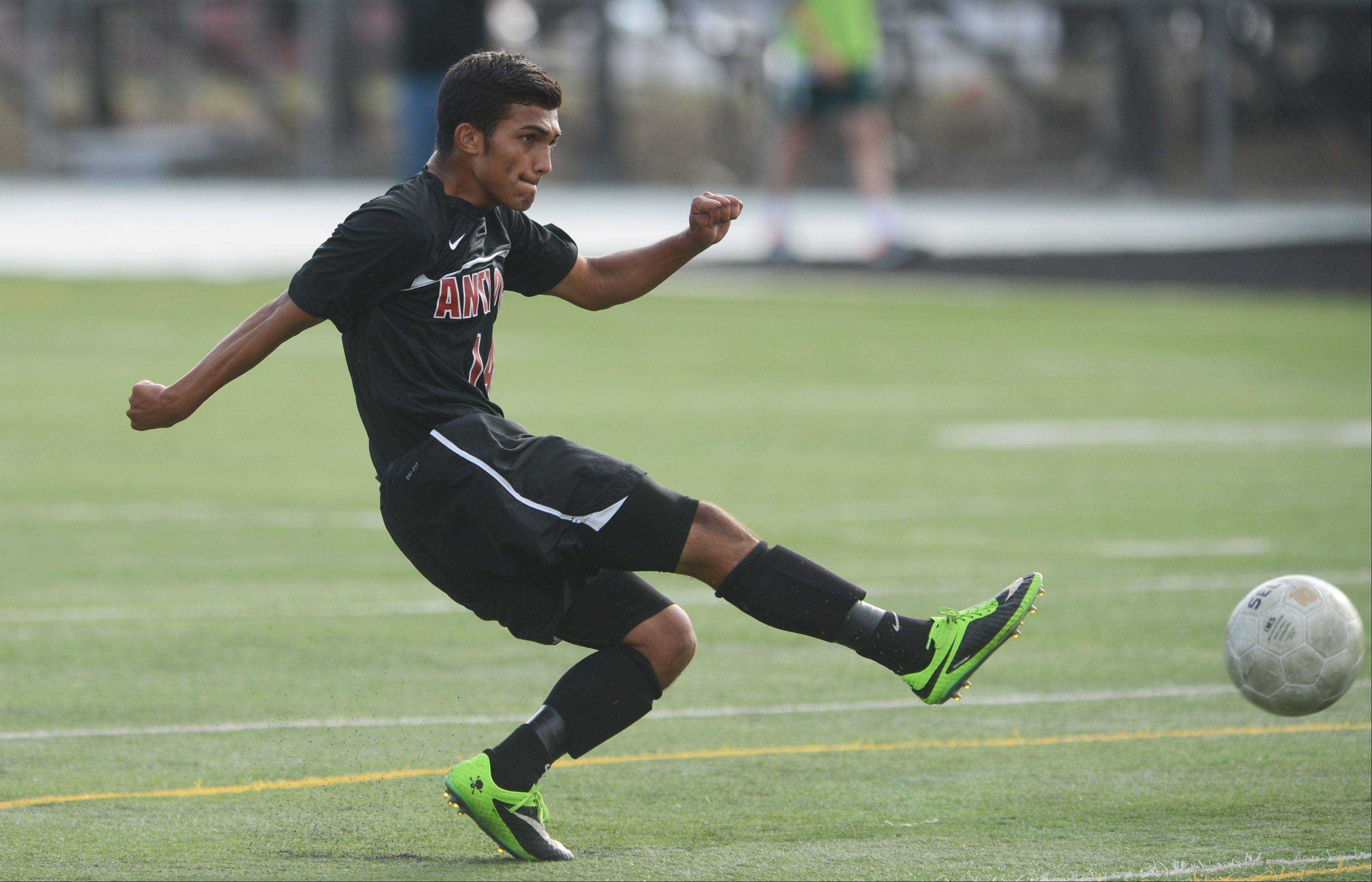 Antioch's Iven Hernandez puts a shot on goal against Grayslake Central on Wednesday.