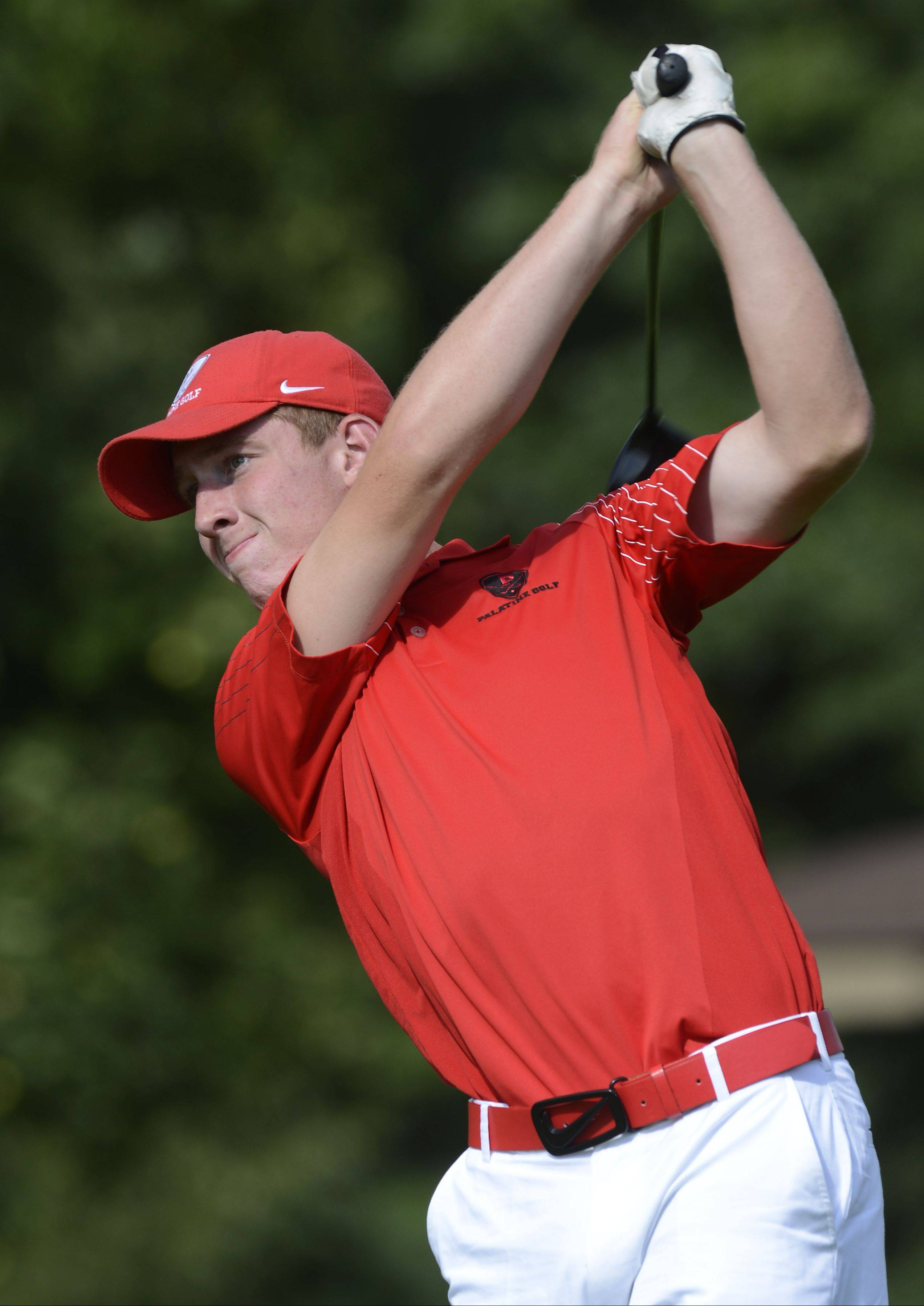 Palatine's Tim Klein tees off on No. 2 during Wednesday's match with Prospect and Conant at Palatine Hills Golf Course.