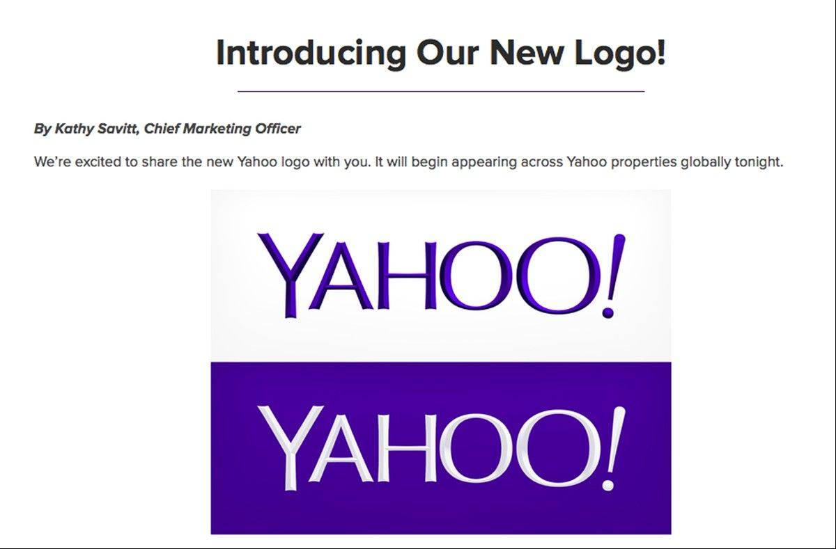 This screen grab made from Yahoo Inc.�s Tumblr page shows the company�s new logo in a post published on Wednesday. This is Yahoo�s first logo change since shortly after the Internet company�s founding 18 years ago.