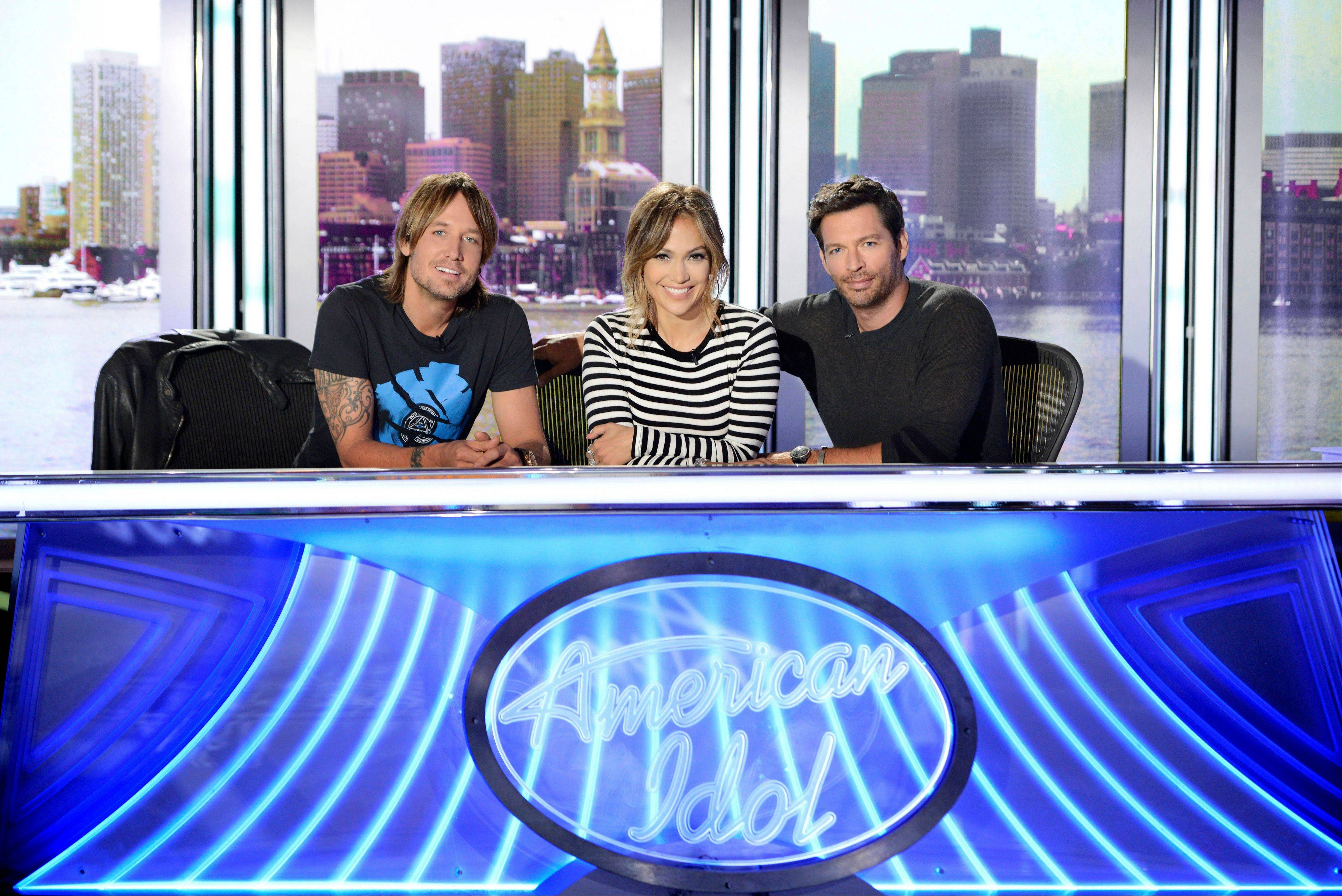 "Keith Urban, from left, Jennifer Lopez and Harry Connick Jr. settle in for Fox's ""American Idol XIII."" Pop star and actress Lopez will be back on ""American Idol"" after a two-season run as judge in 2011 and 2012 that was a boon for the show and her career. Connick, a respected jazz singer and musician, proved adept as a mentor in several ""Idol"" appearances."