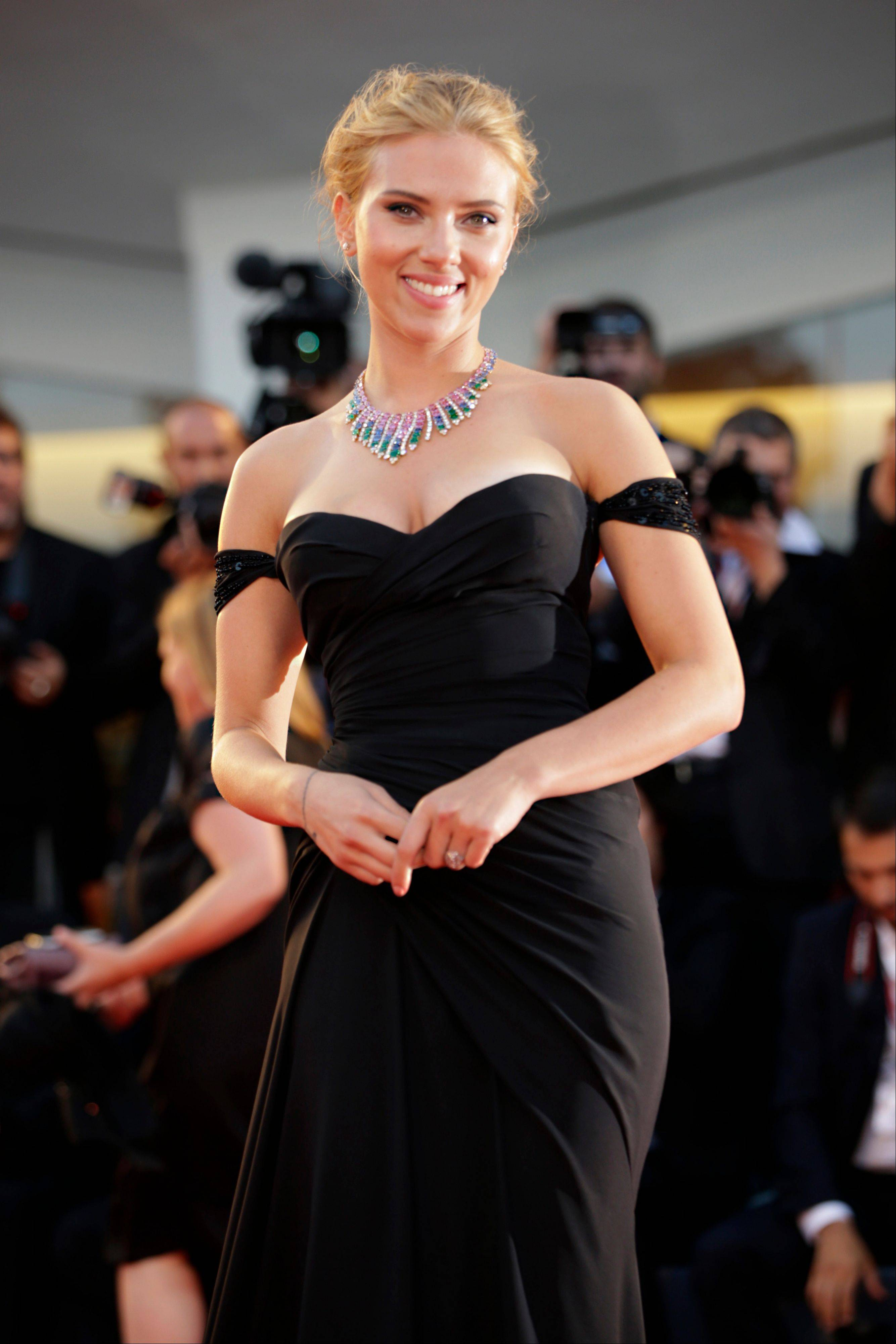 Actress Scarlett Johansson was in Italy this week promoting �Under the Skin� when the large diamond ring on her left hand started getting attention.