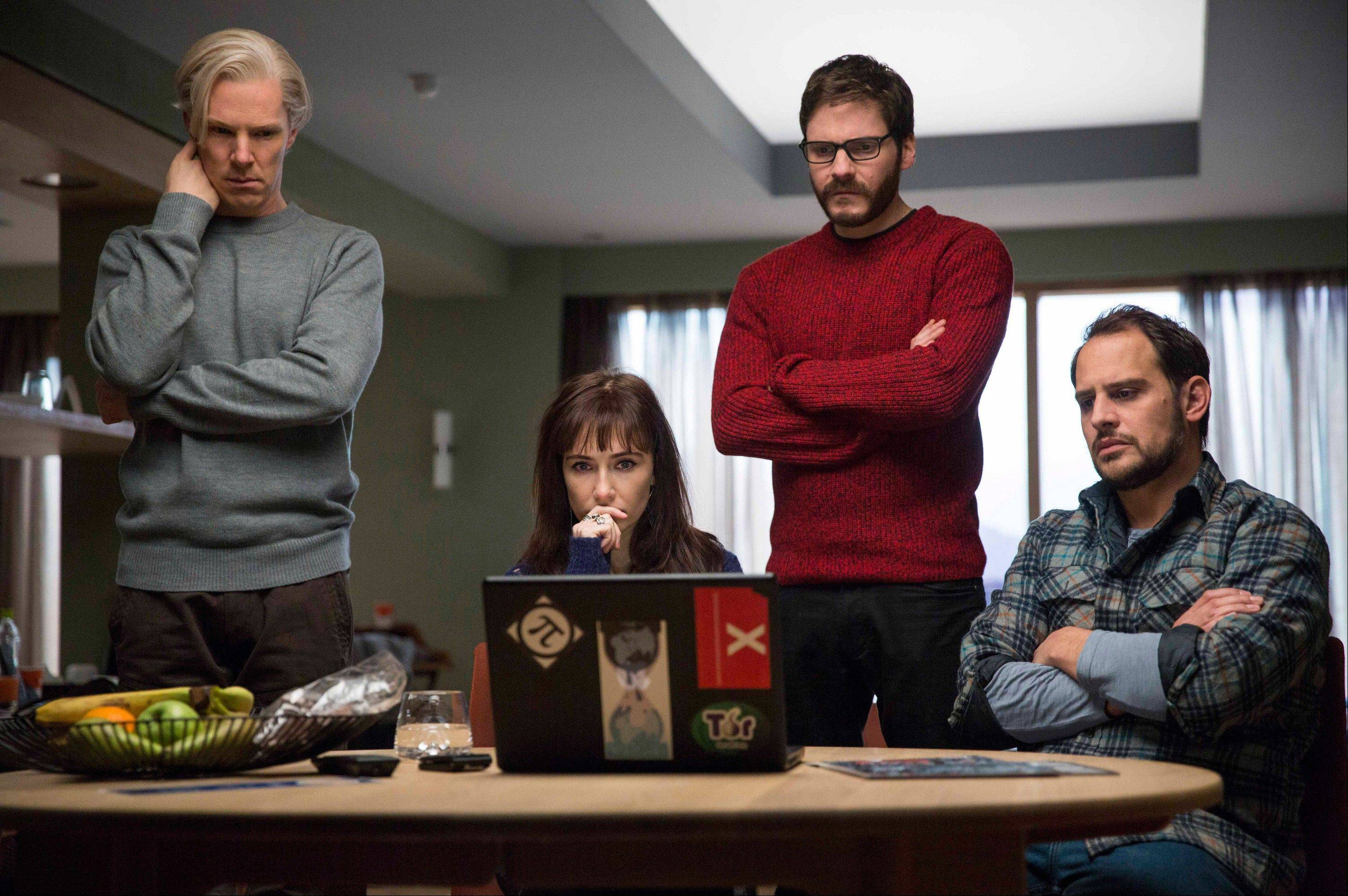 Benedict Cumberbatch, left, Carice van Houten, Daniel Bruhl and Moritz Bleibtreu star in �The Fifth Estate,� which is being shown during the Toronto International Film Festival this week.