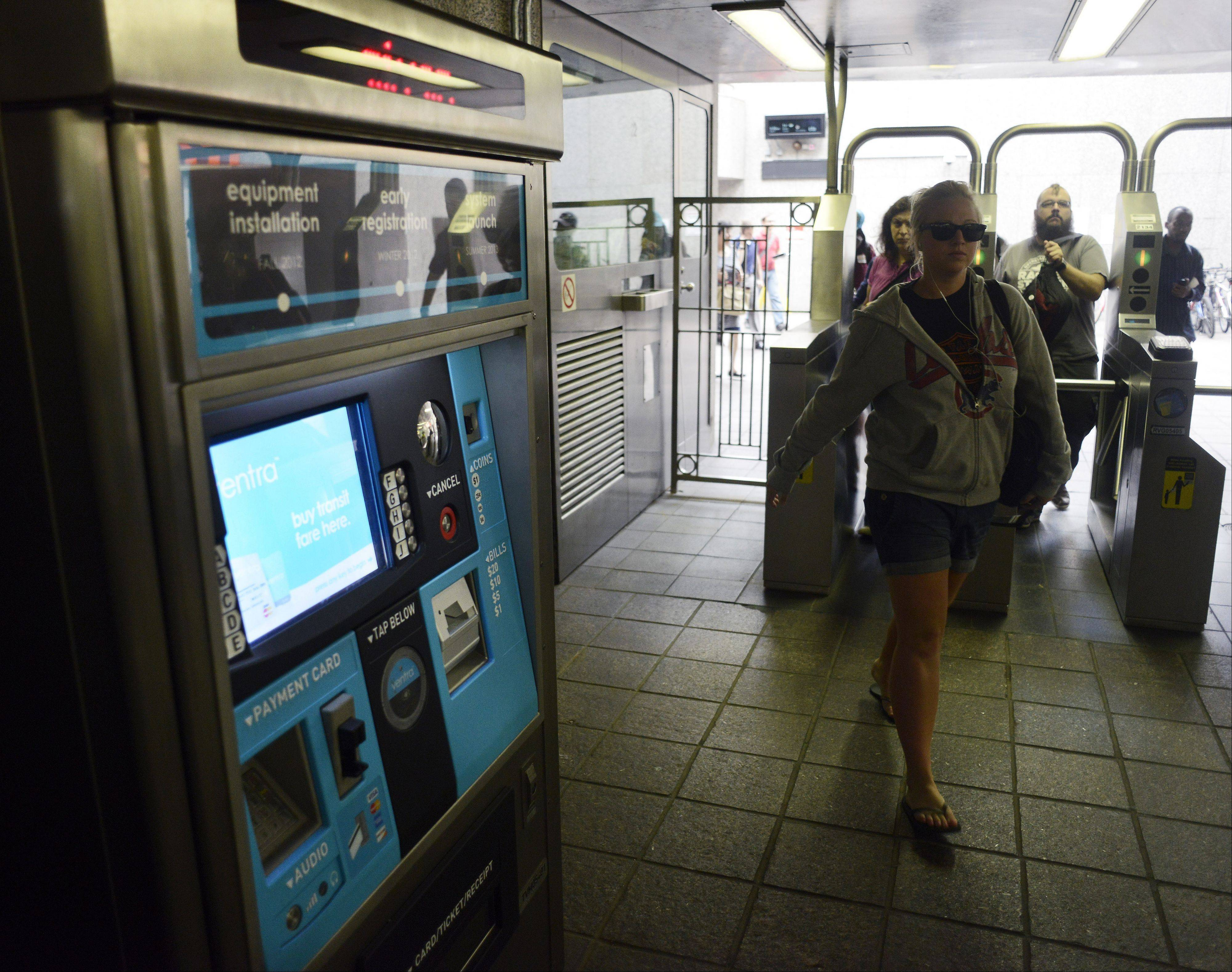 JOE LEWNARD/jlewnard@dailyherald.com A machine for purchasing Ventra fares sits in the Rosemont CTA station.
