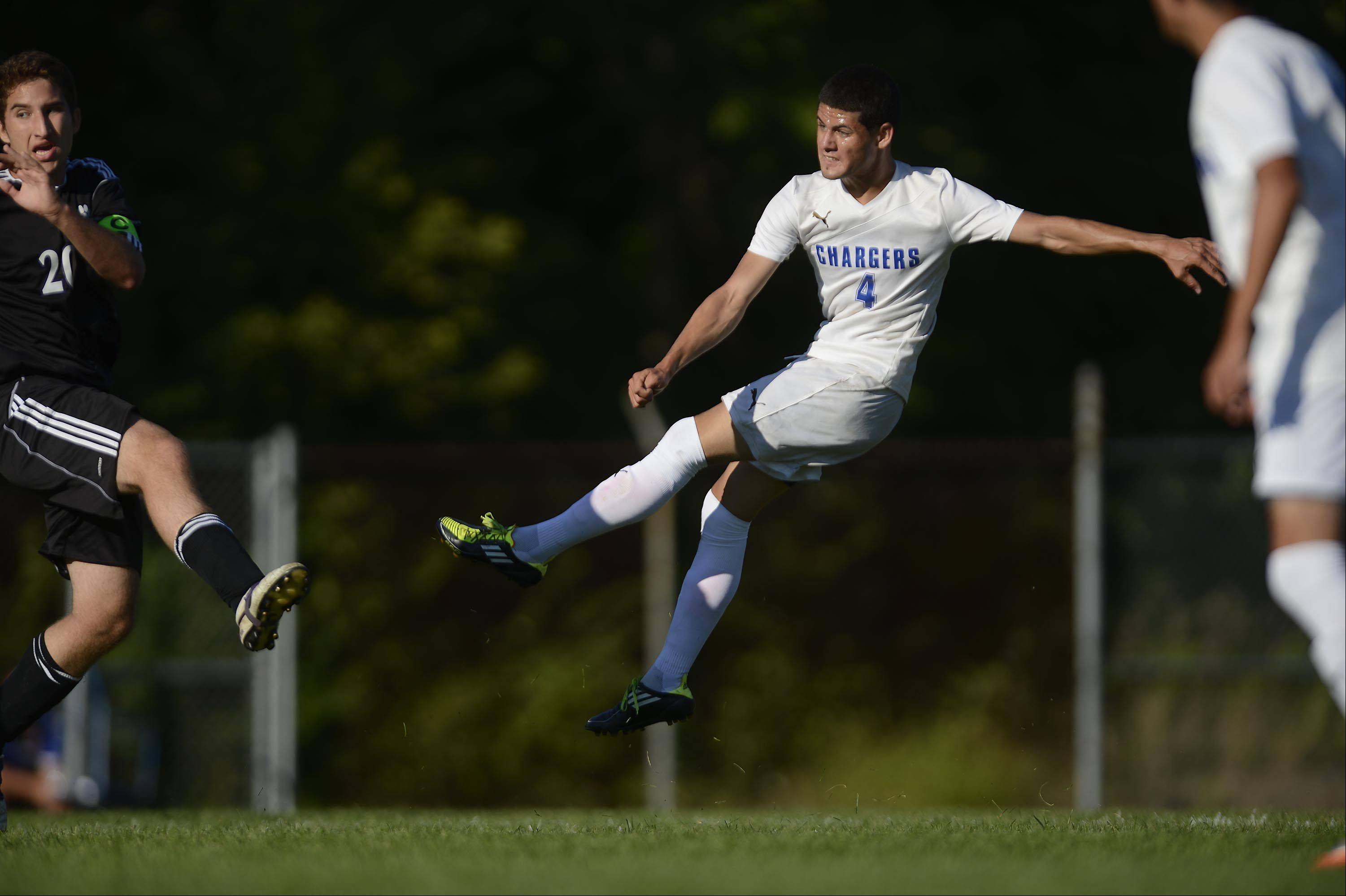 Dundee-Crown�s Eduardo Arellano watches his first half goal against Hampshire Thursday in Carpentersville.