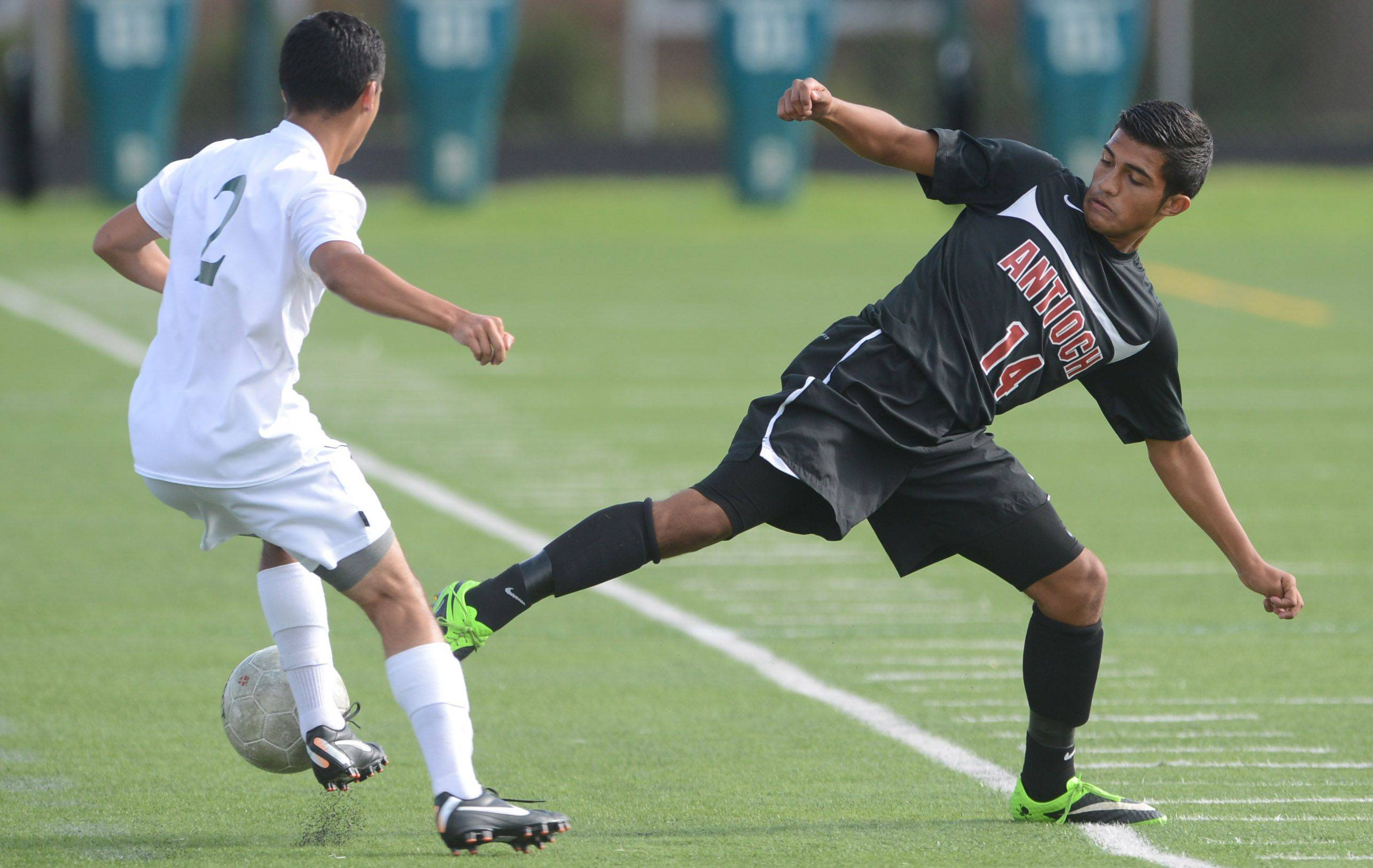 Antioch�s Iven Hernandez, right, tries to disrupt a possession against Grayslake Central�s Anthony Betancourth on Wednesday in Grayslake.
