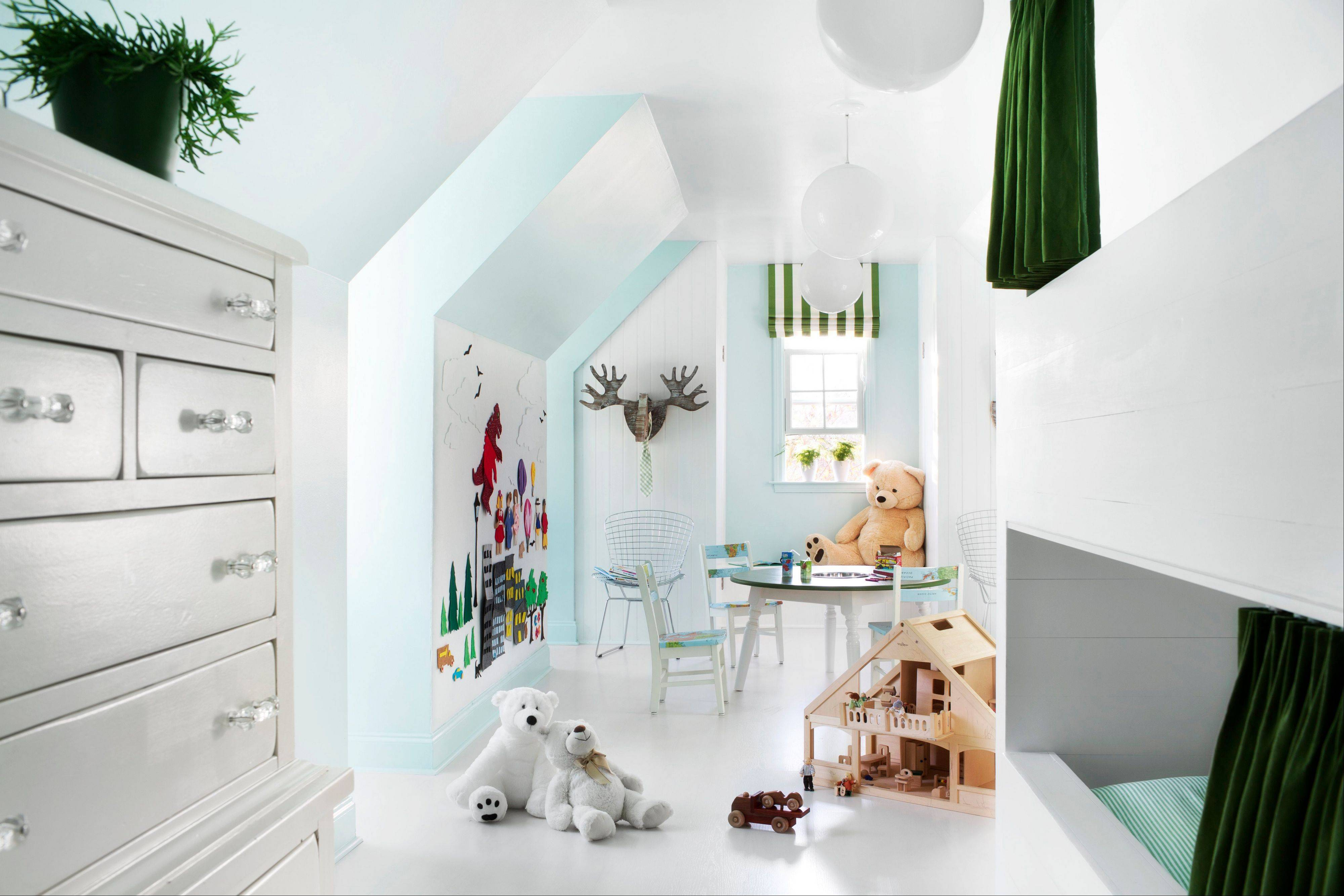 White plastic globe lights used by Designer Brian Patrick Flynn when decorating children's bedrooms. The retro style is back as globe lights were popular in the 1950s because they cast a very flattering glow.