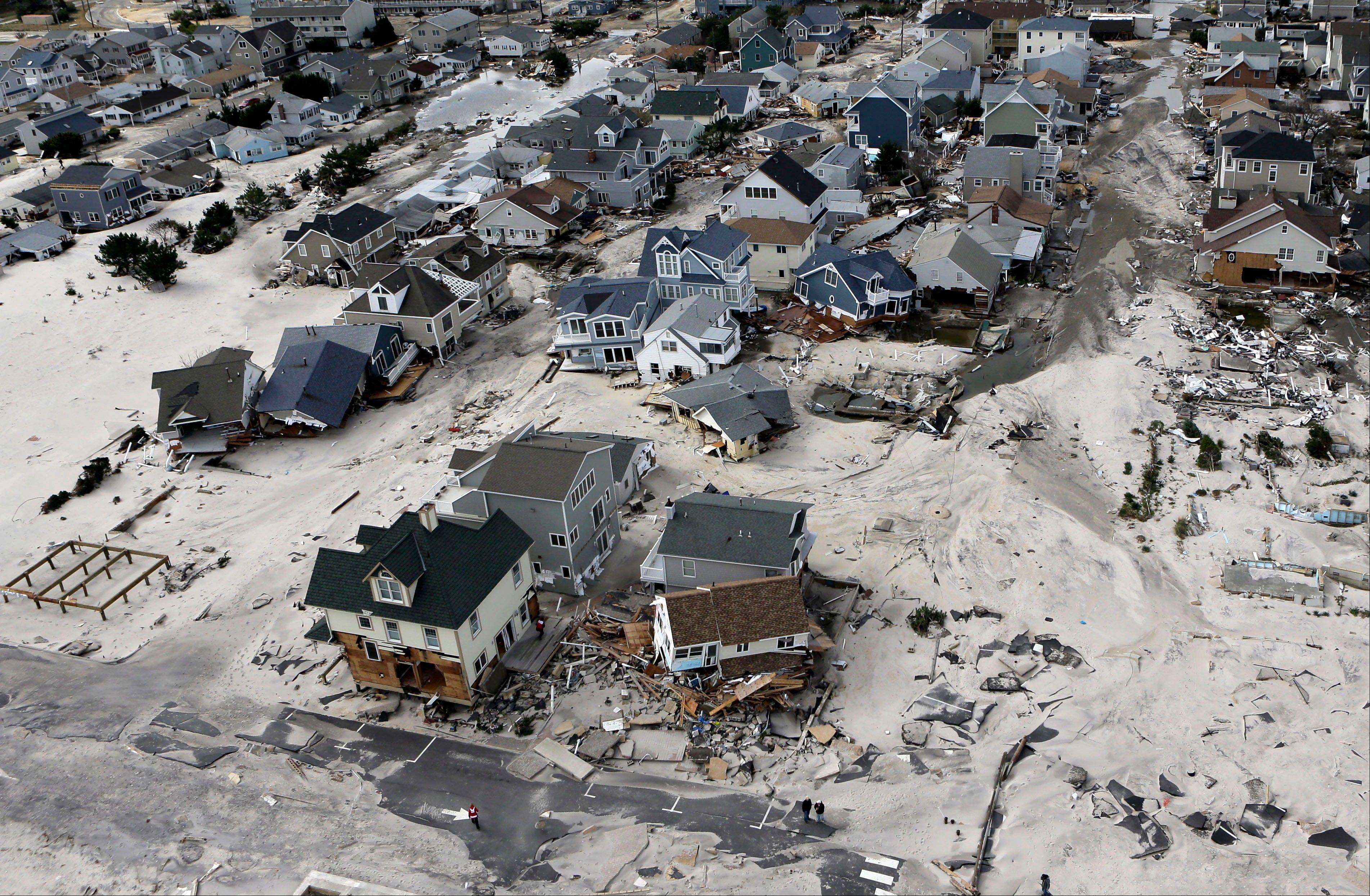Destroyed and damaged homes were left in the wake of Superstorm Sandy in Ortley Beach, N.J., in this photo from Oct. 31, 2012.