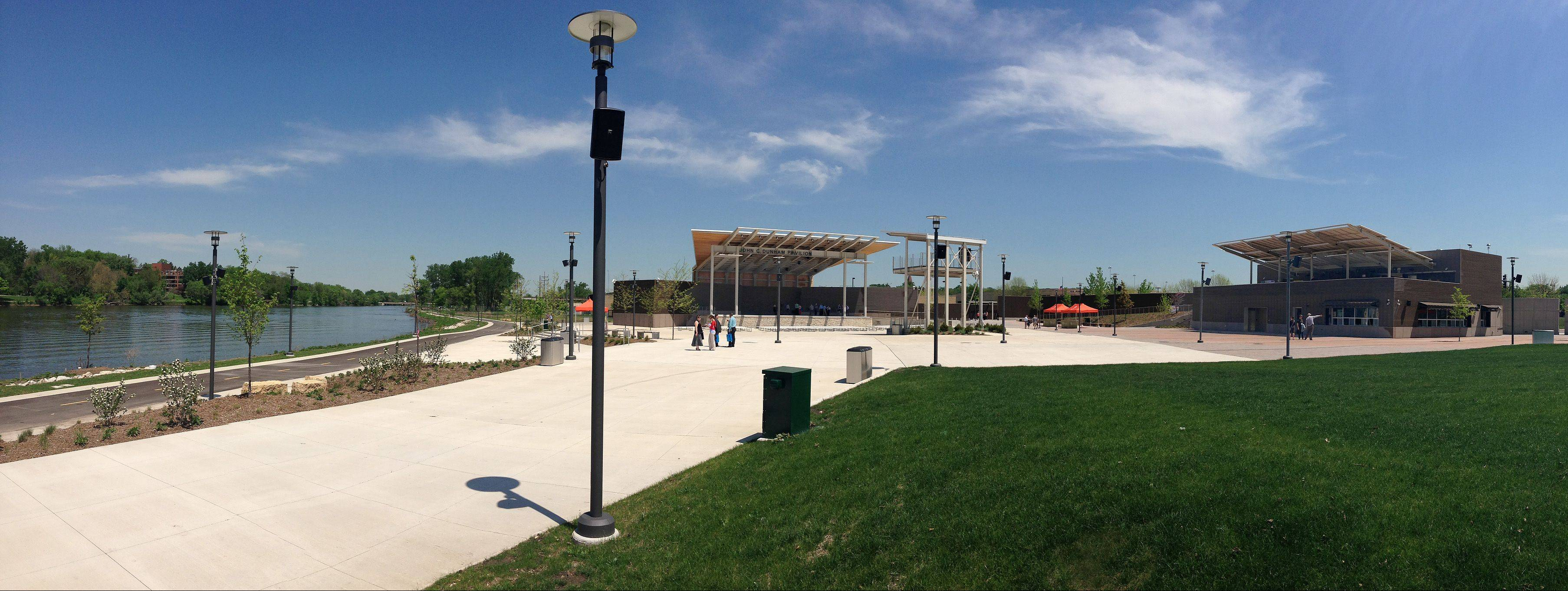 RiverEdge Park, which opened in June to host the annual Blues on the Fox Festival, is the highlight of Aurora's recent redevelopment efforts along the Fox River through its downtown.
