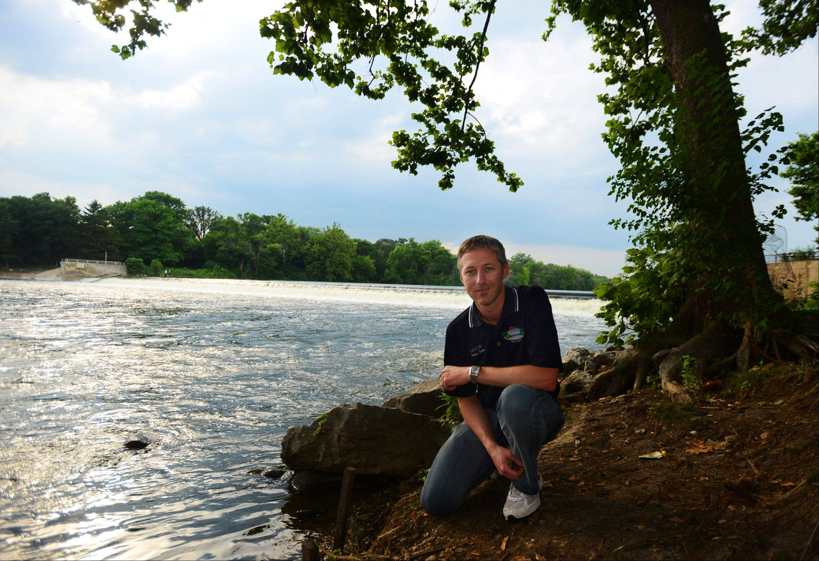 North Aurora Trustee Chris Faber says his town sees the potential of the Fox River, although much of it is hidden behind shops facing Route 31.