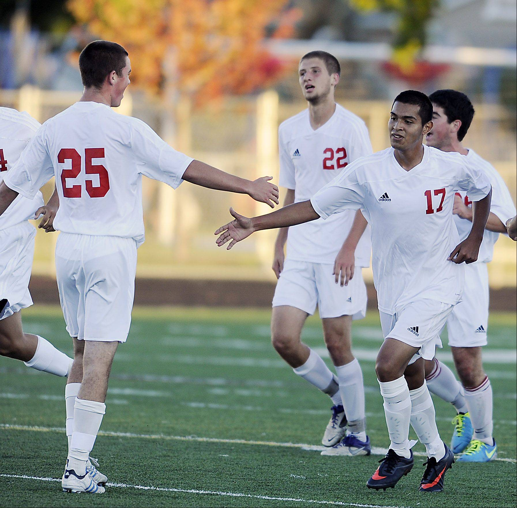 Palatine's Jahir Flores, right, delivered the only goal in Thursday's match against visiting St. Viator.