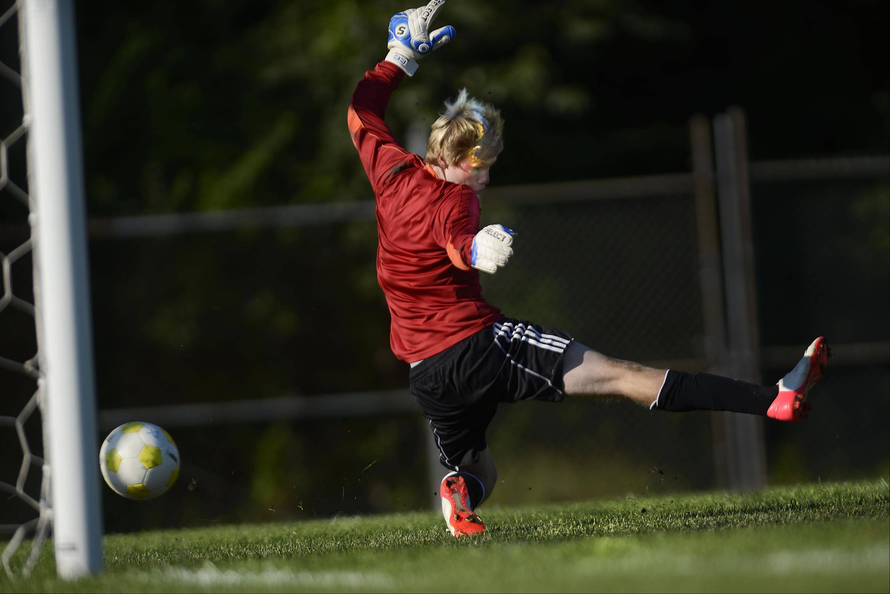 Hampshire goalkeeper Andy Pederson can't reach a shot by Dundee-Crown's Salvador Rodriguez that reached the back of the net Thursday in Carpentersville.