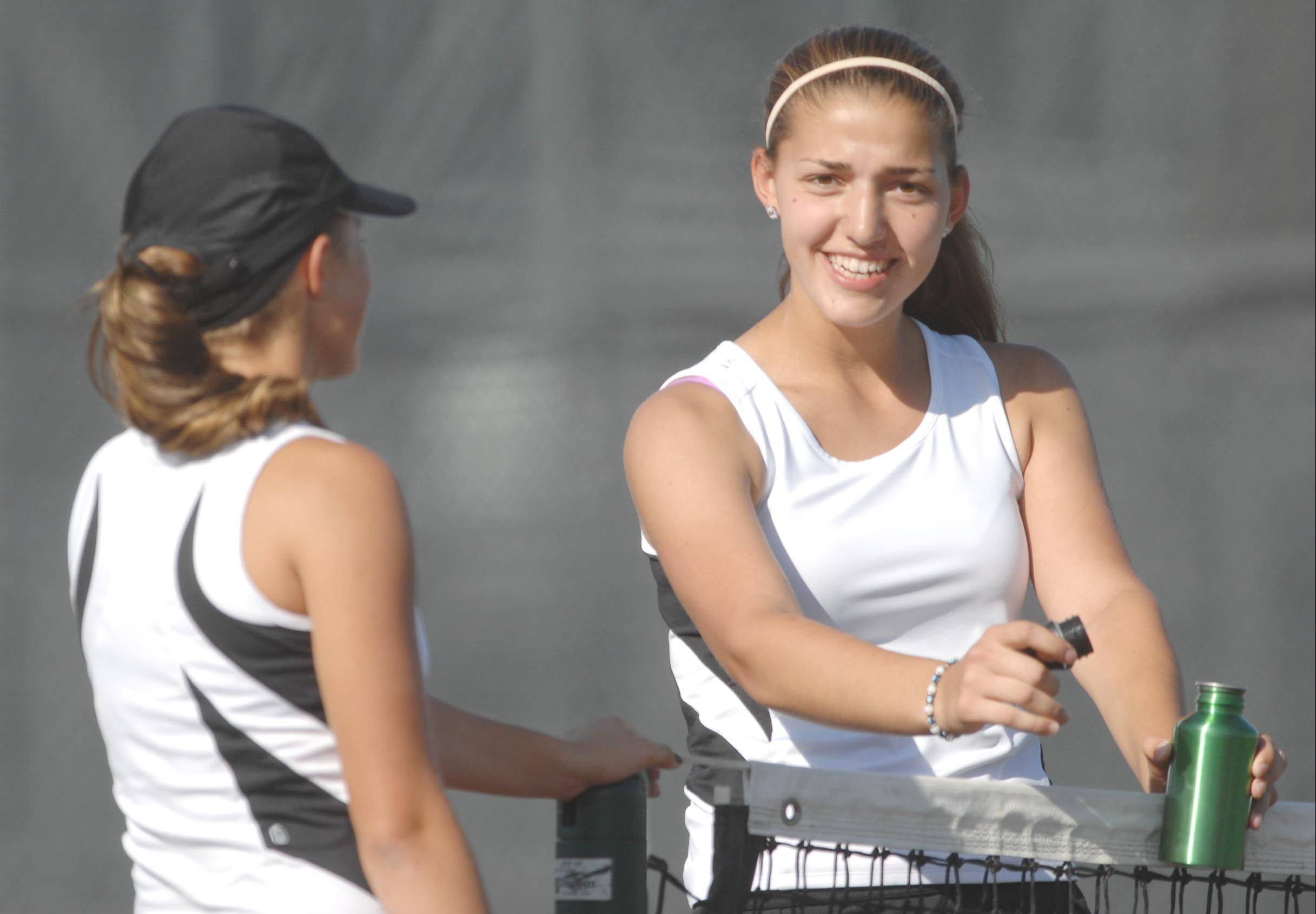 Kaneland's Madison Jurcenko and Angelica Emmanouil, right, became the first players in school history last year to earn all-state honors. The duo is part of a strong returning lineup.