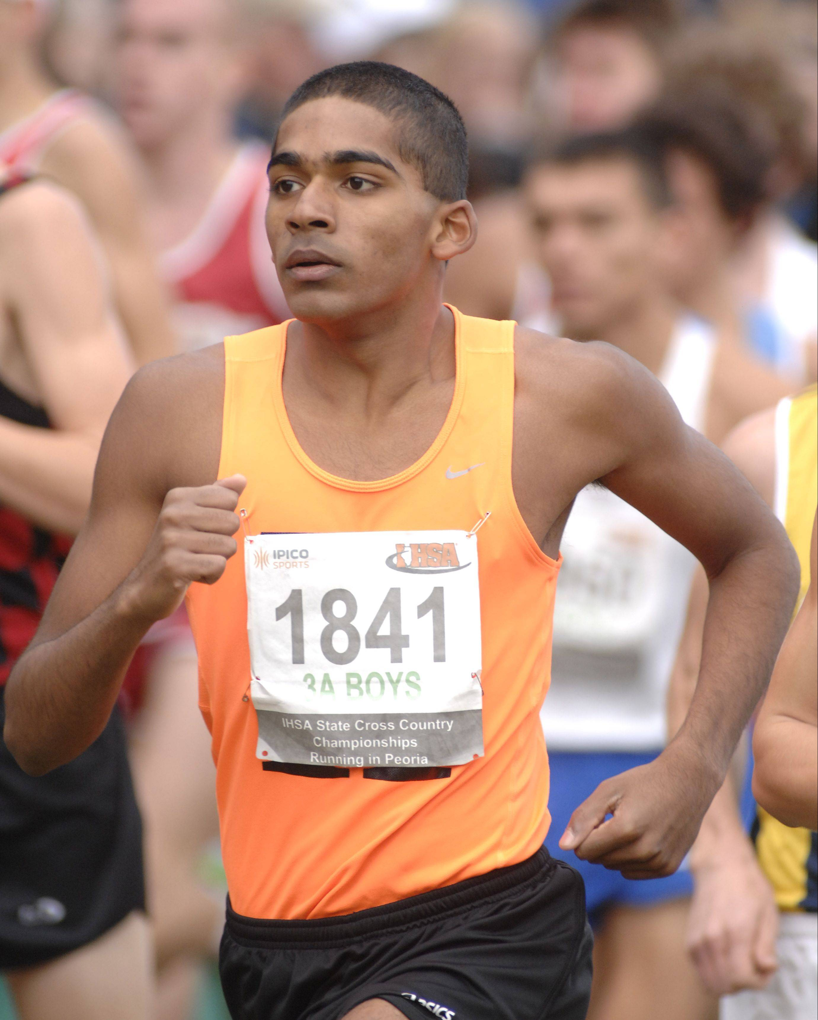 Senior Andy Philipose, here competing in last season's state meet in Peoria, helps give Hersey a promising outlook this fall.