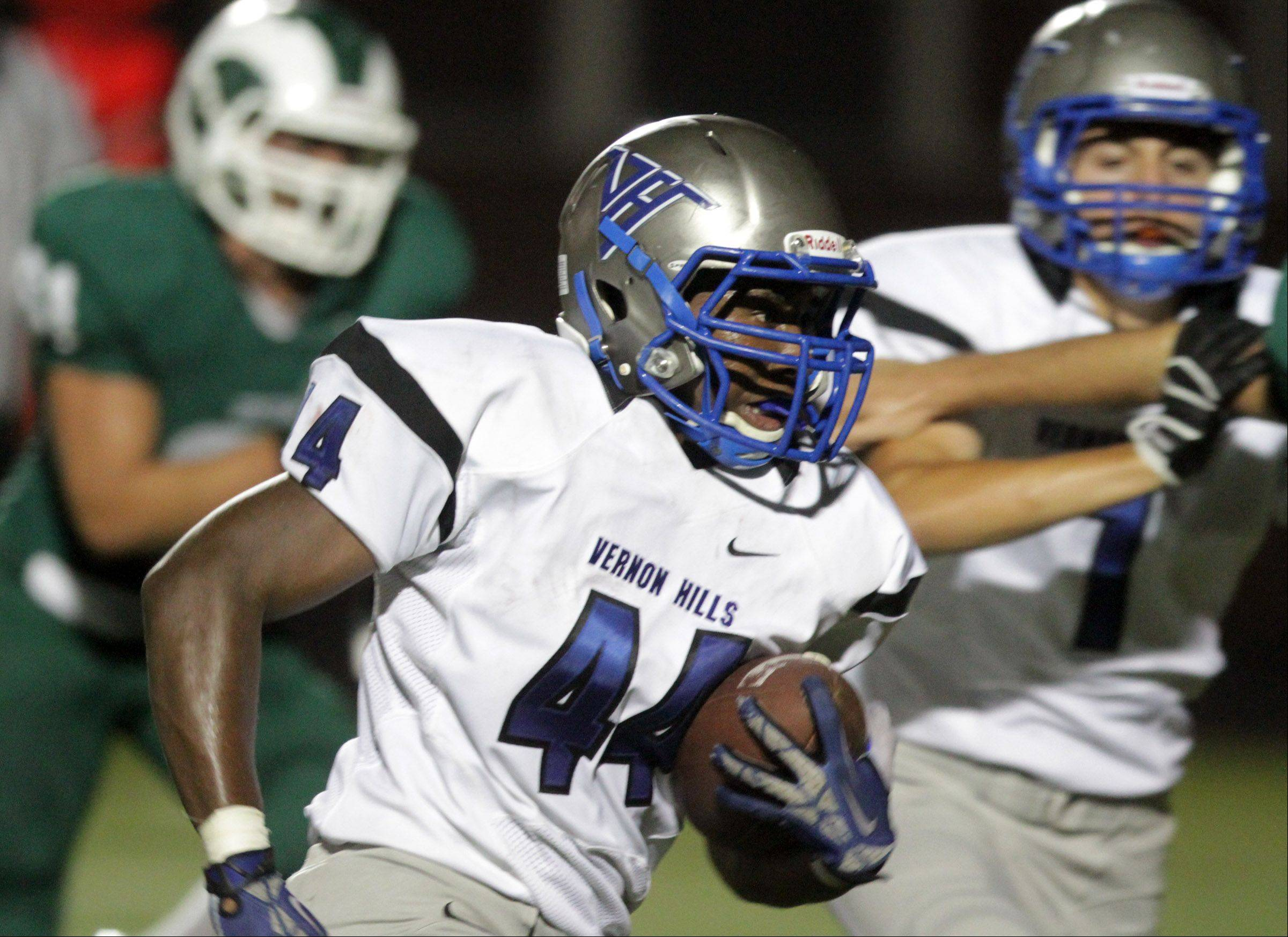Vernon Hills� running back Kyle Thomas runs the ball against Grayslake Central.