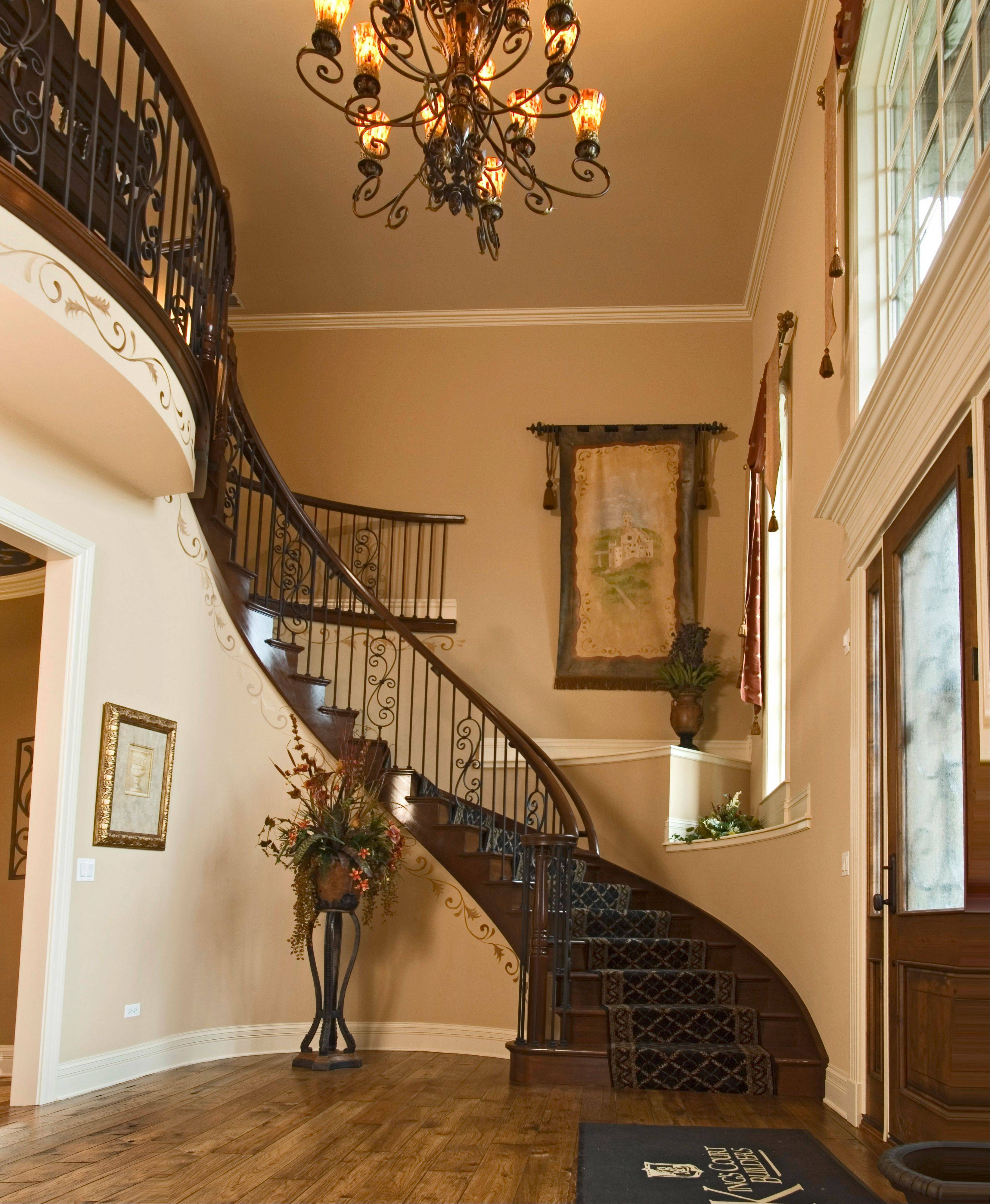 King's Court Builders is getting positive feedback on its custom winding staircase in its model at Lakeside of Grande Park in Plainfield.