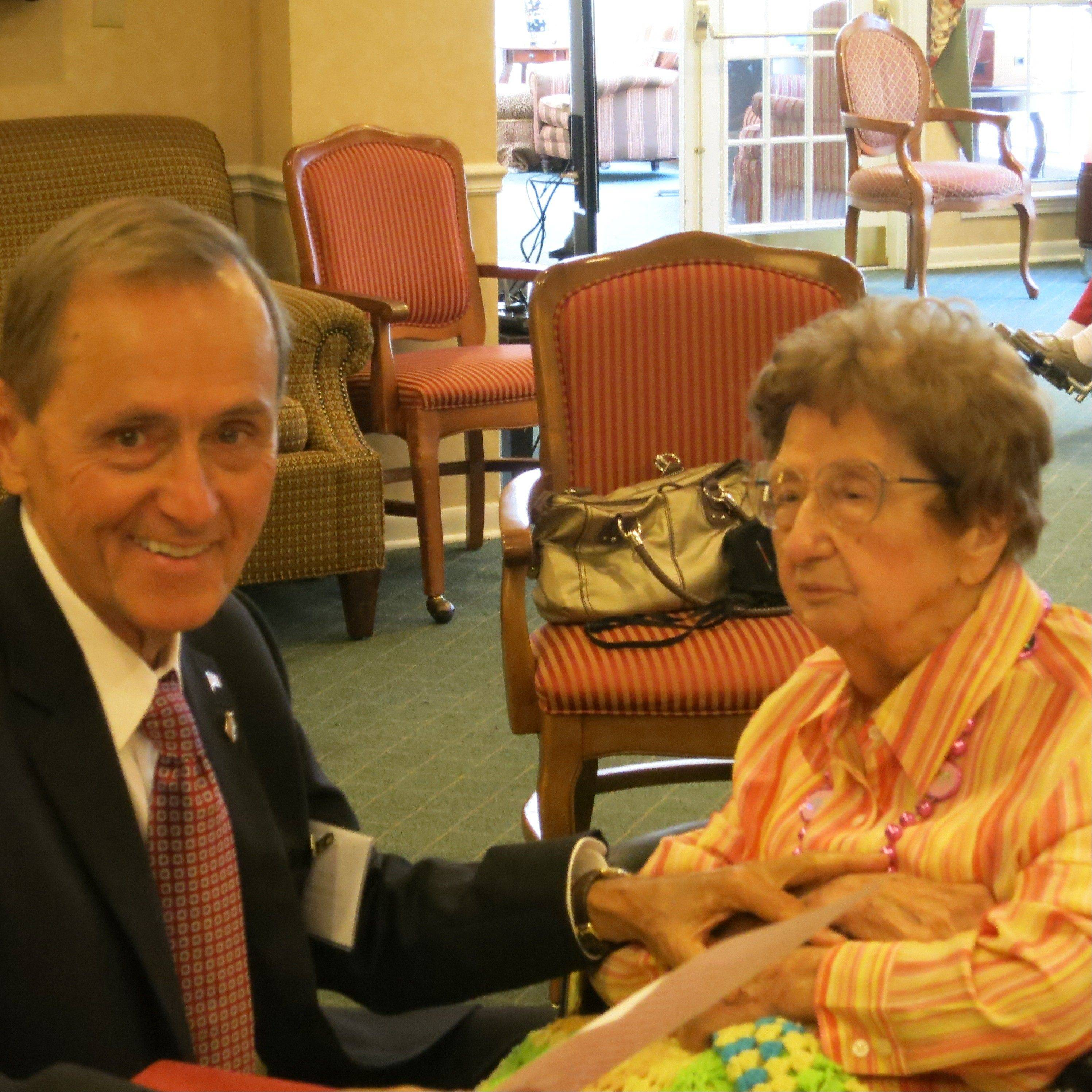Prospect Heights Mayor Nick Helmer Joins Natalie Arendt to celebrate her 100th birthday at Emeritus Senior Living.
