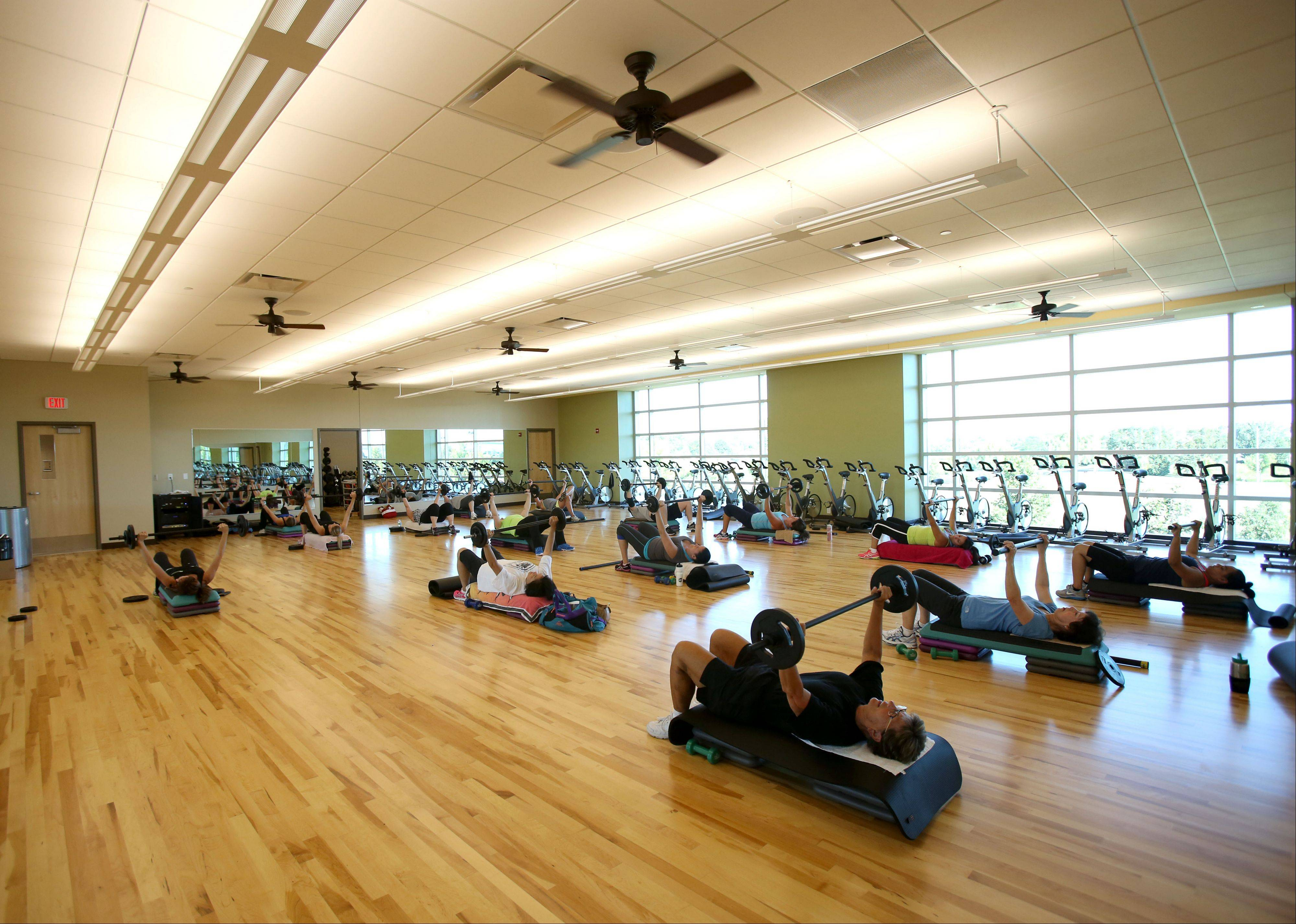 The new Fountain View Recreation Center in Carol Stream has two fitness class studios. A body pump class is one of several classes offered.