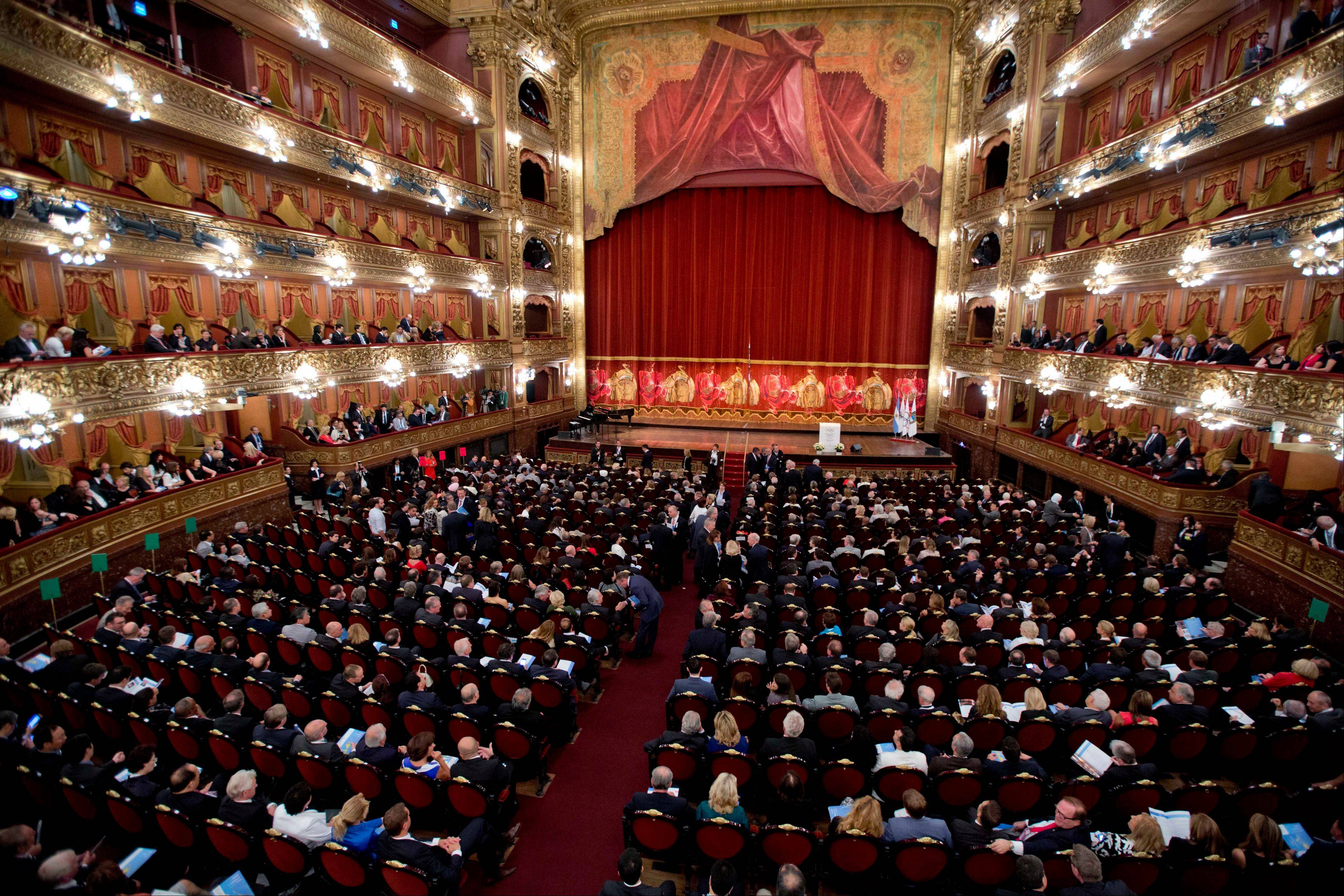 People pack Colon Theater for Friday's opening ceremony of the International Olympic Committee session in Buenos Aires, Argentina.