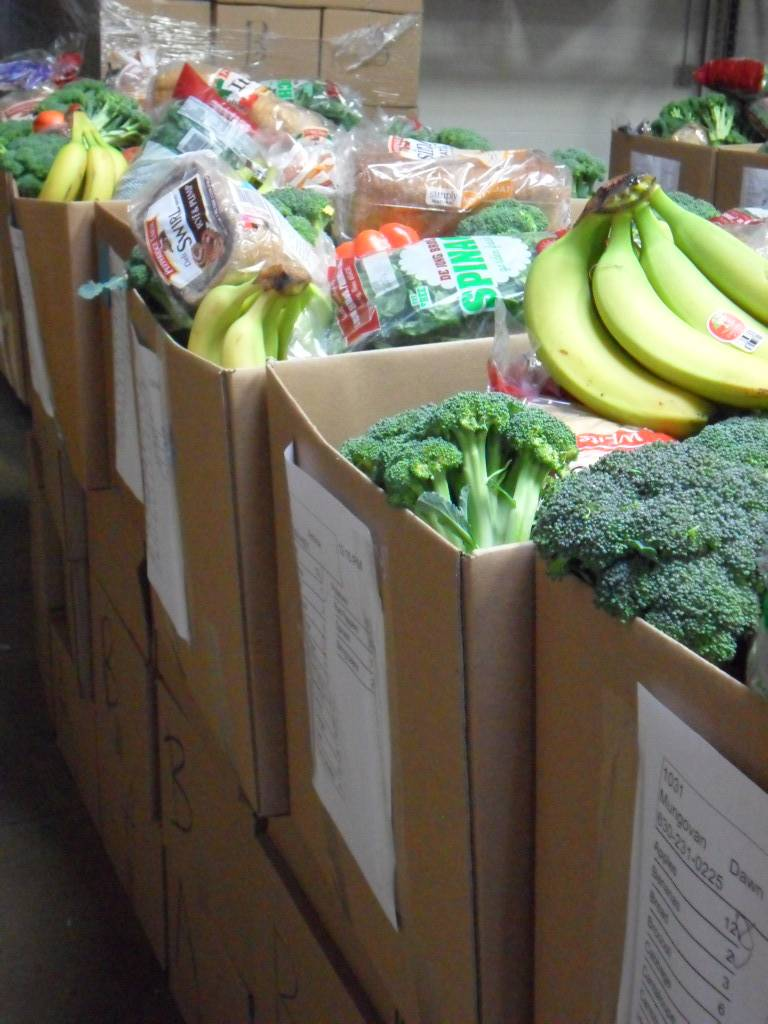 Fresh produce and bread to be distributed to impoverished families served by HSP's Feed the Kids Program