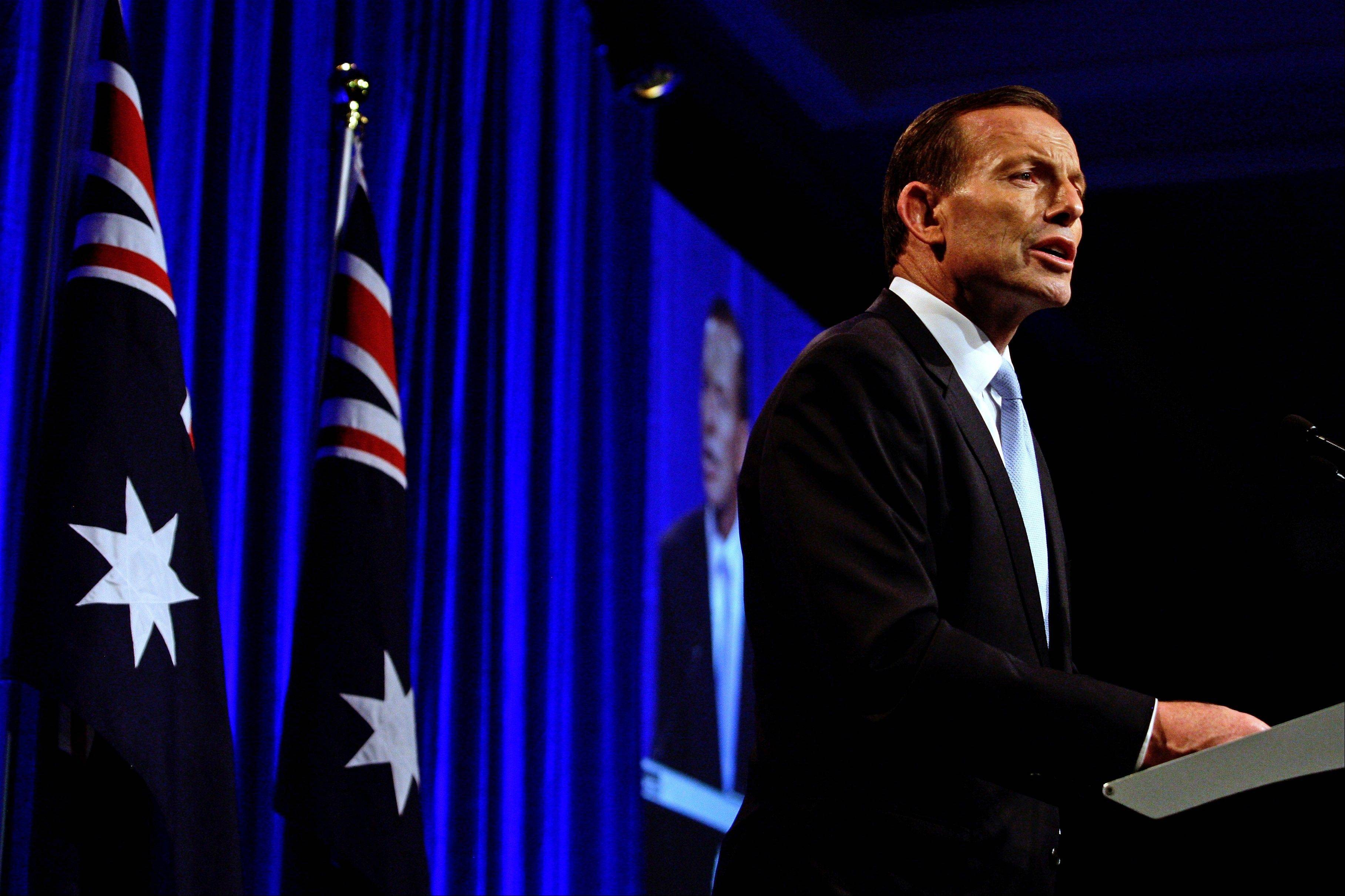 Australian opposition leader Tony Abbott speaks to supporters Saturday in Sydney following his win in Australia�s national election.