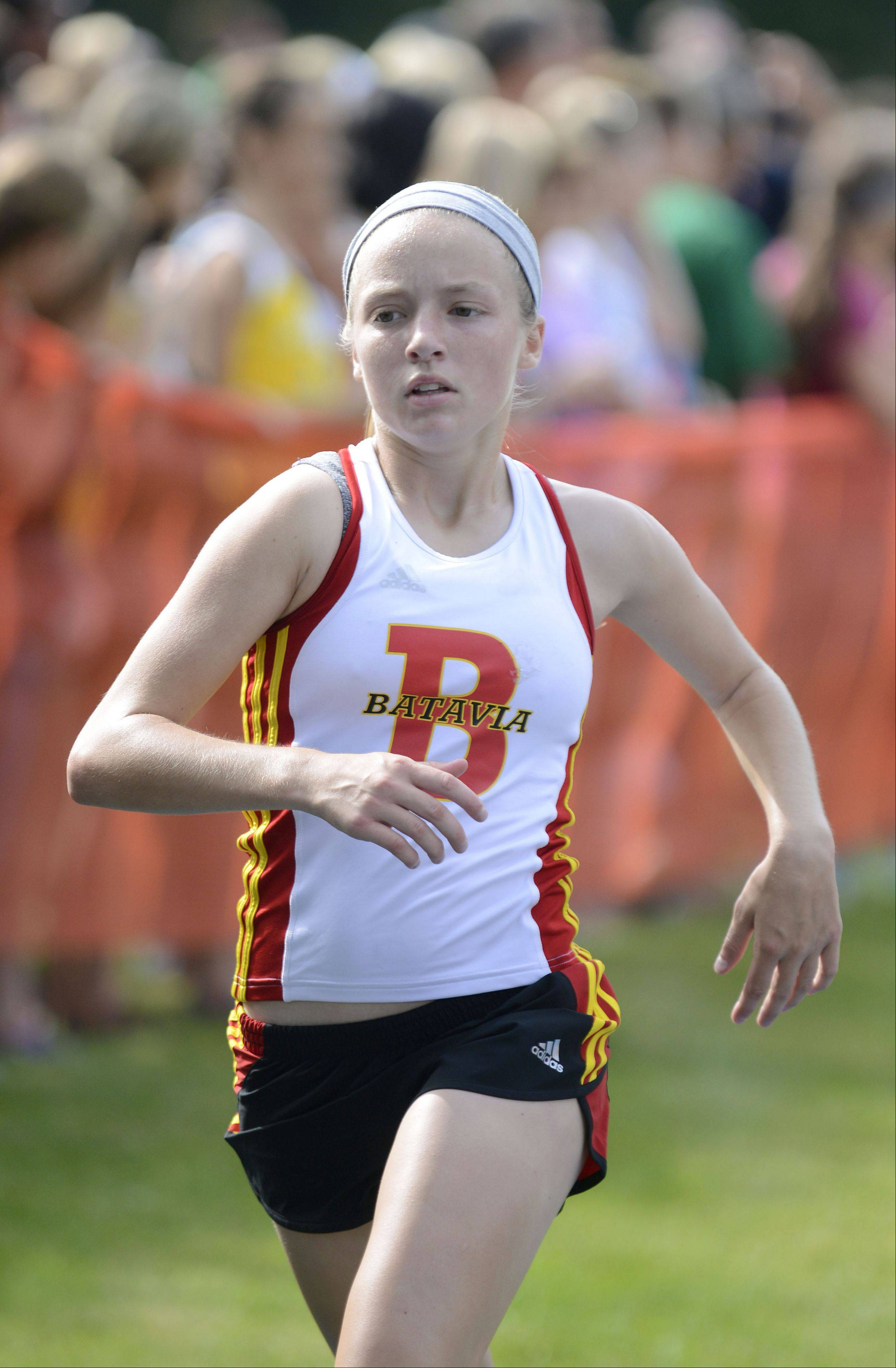 Batavia�s Dakota Roman nears the finish line in the meet at Leroy Oakes Forest Preserve in St. Charles on Saturday, September 7.