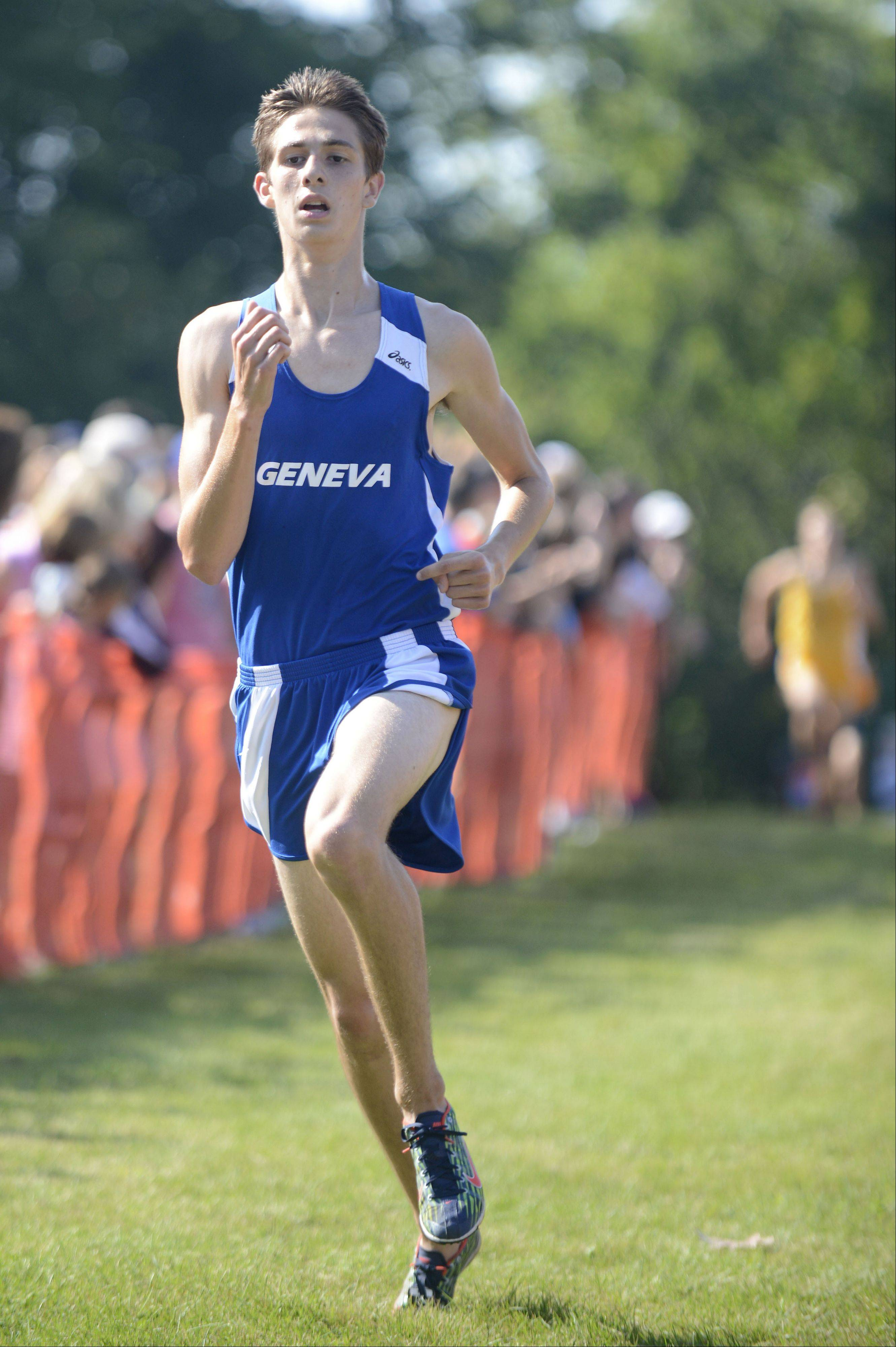 Geneva�s Blaine Bartel nears the finish line in the meet at Leroy Oakes Forest Preserve in St. Charles on Saturday, September 7.