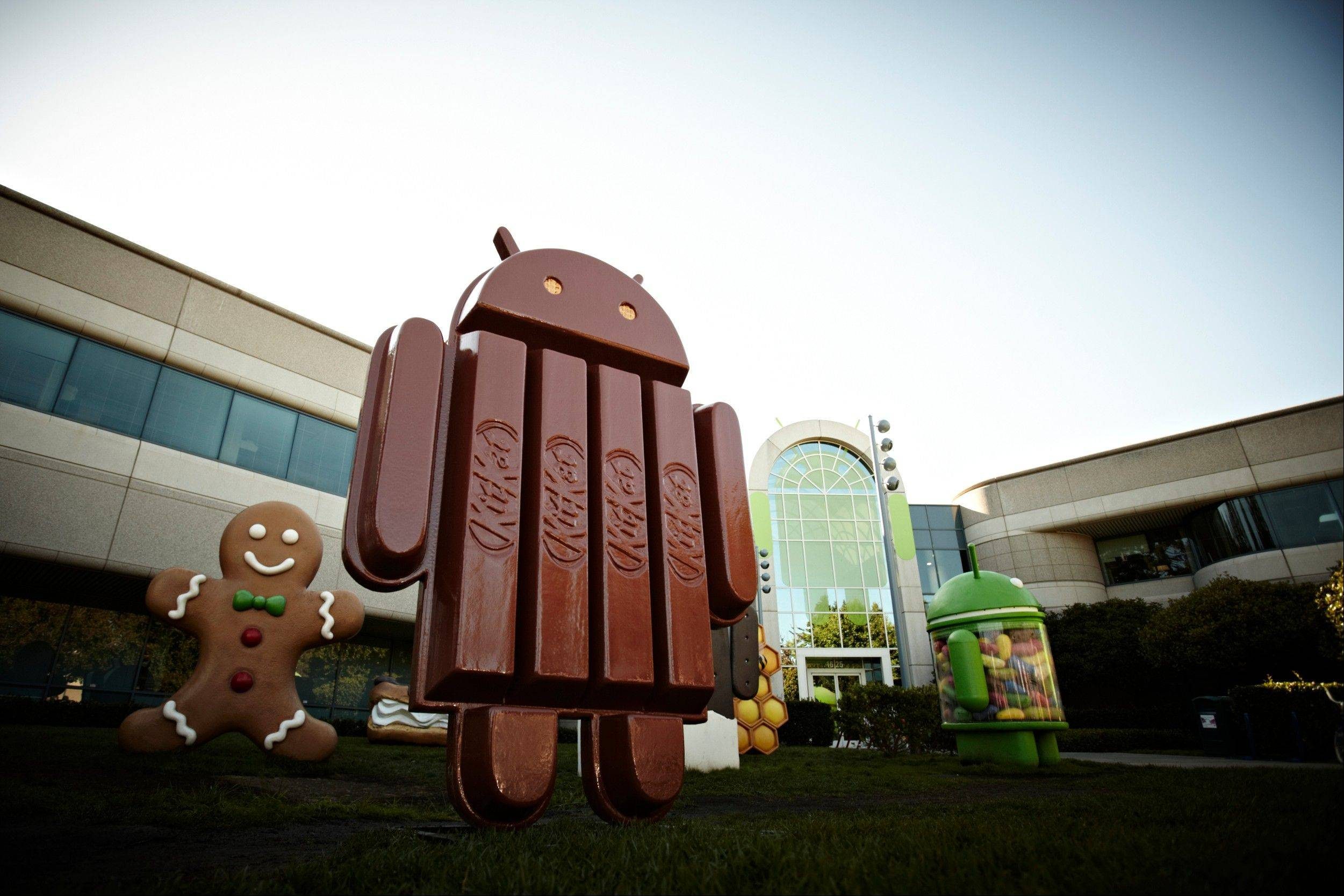 This undated product image provided by Google Inc. shows the new Kit Kat bar Android statue outside Google Inc. headquarters in Mountain View, CA. Google is naming its new Android operating system after the chocolate bar. The Android 4.4 KitKat system is expected to launch in October 2013.
