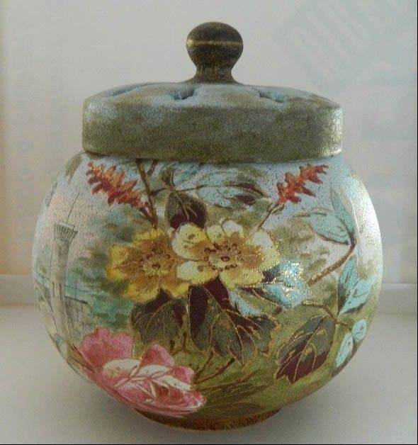 This potpourri jar is very Victorian, but does the damage hurt its value?