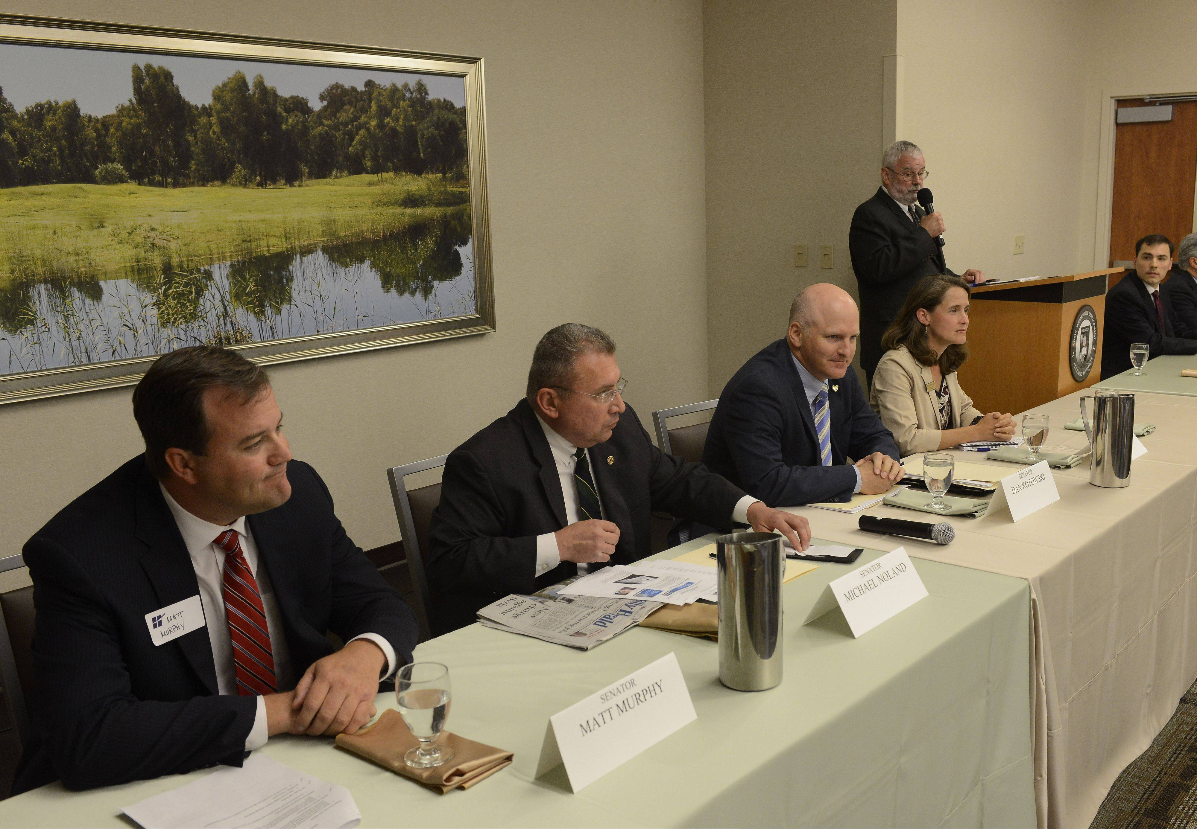 Hoffman Estates Mayor William McLeod, standing, moderates the Hoffman Estates Chamber of Commerce's annual legislative lunch at the Alexian Brothers Women and Children's Hospital in Hoffman Estates Friday. From left to right are state senators Matt Murphy, Michael Noland and Dan Kotowski, and representatives Michelle Mussman, Tom Morrison and Fred Crespo.