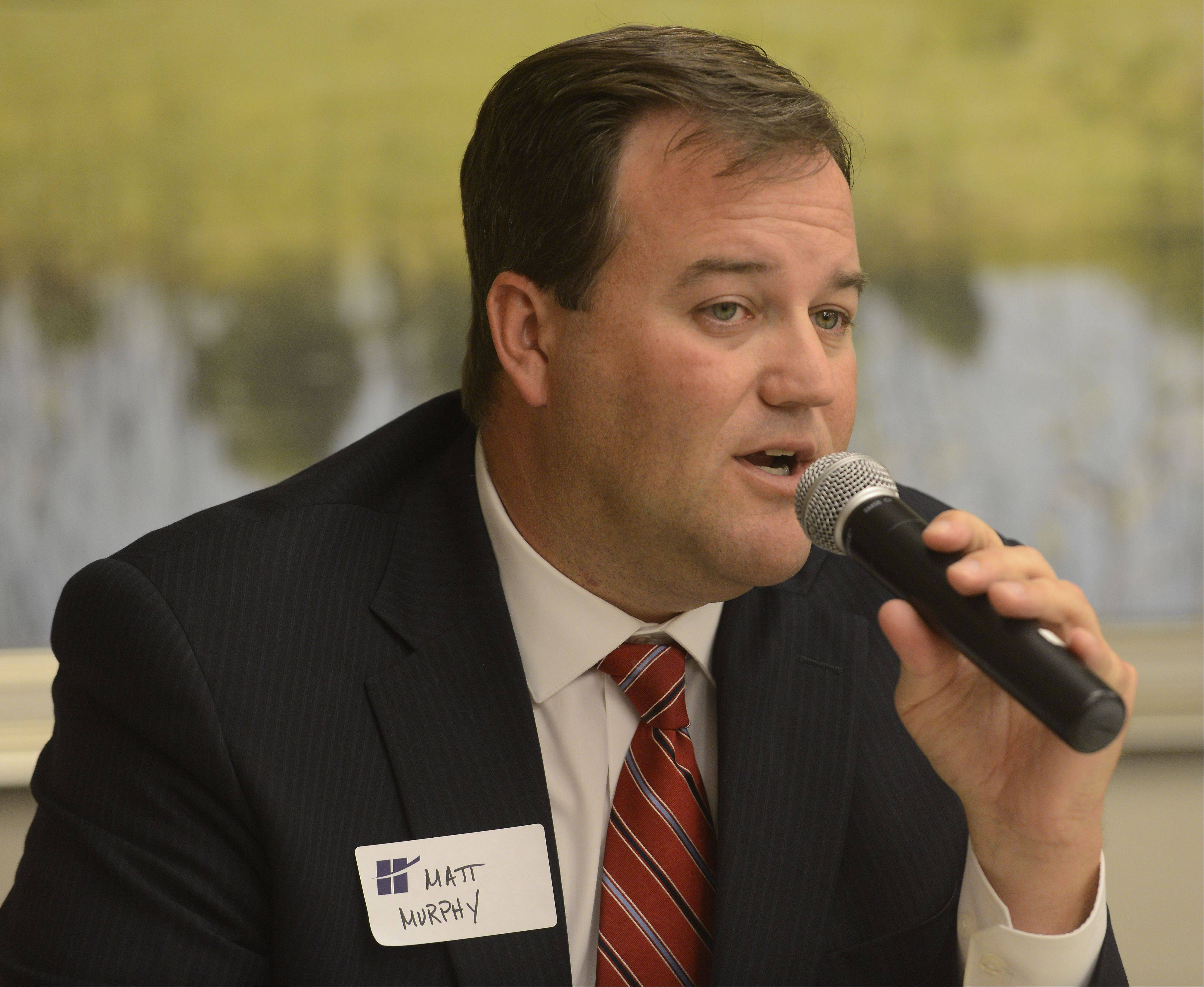 State Sen. Matt Murphy speaks during the Hoffman Estates Chamber of Commerce's annual legislative lunch at the Alexian Brothers Women and Children's Hospital in Hoffman Estates Friday.
