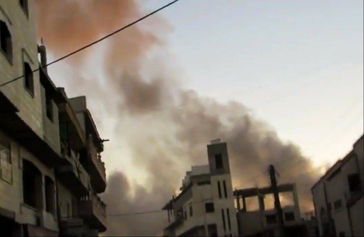 Plumes of smoke rise due to heavy shelling in Idlib province, Syria.