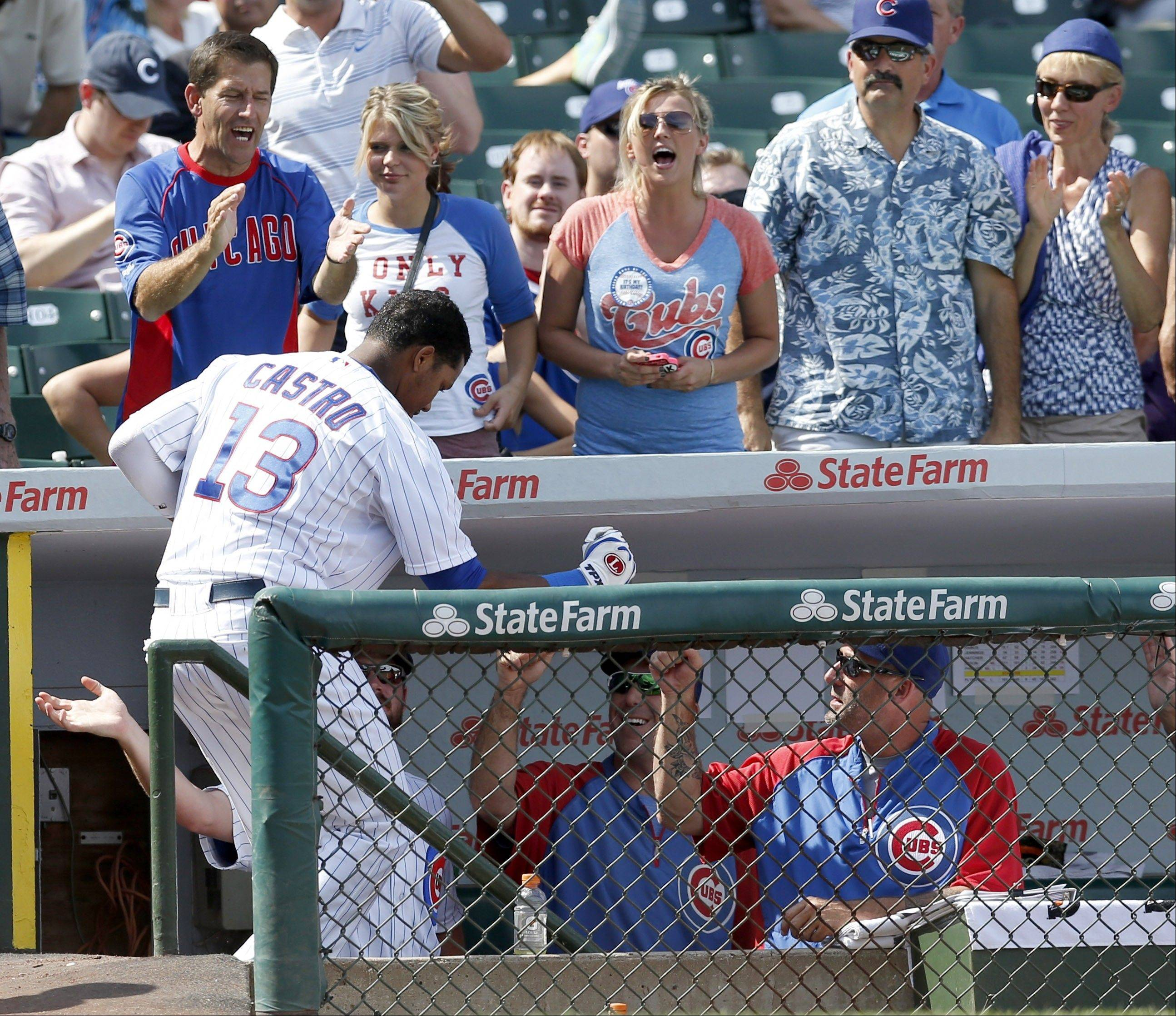 The Cubs' Starlin Castro, celebrating a home run against the Marlins last week, has shown signs of getting his offense back on track.